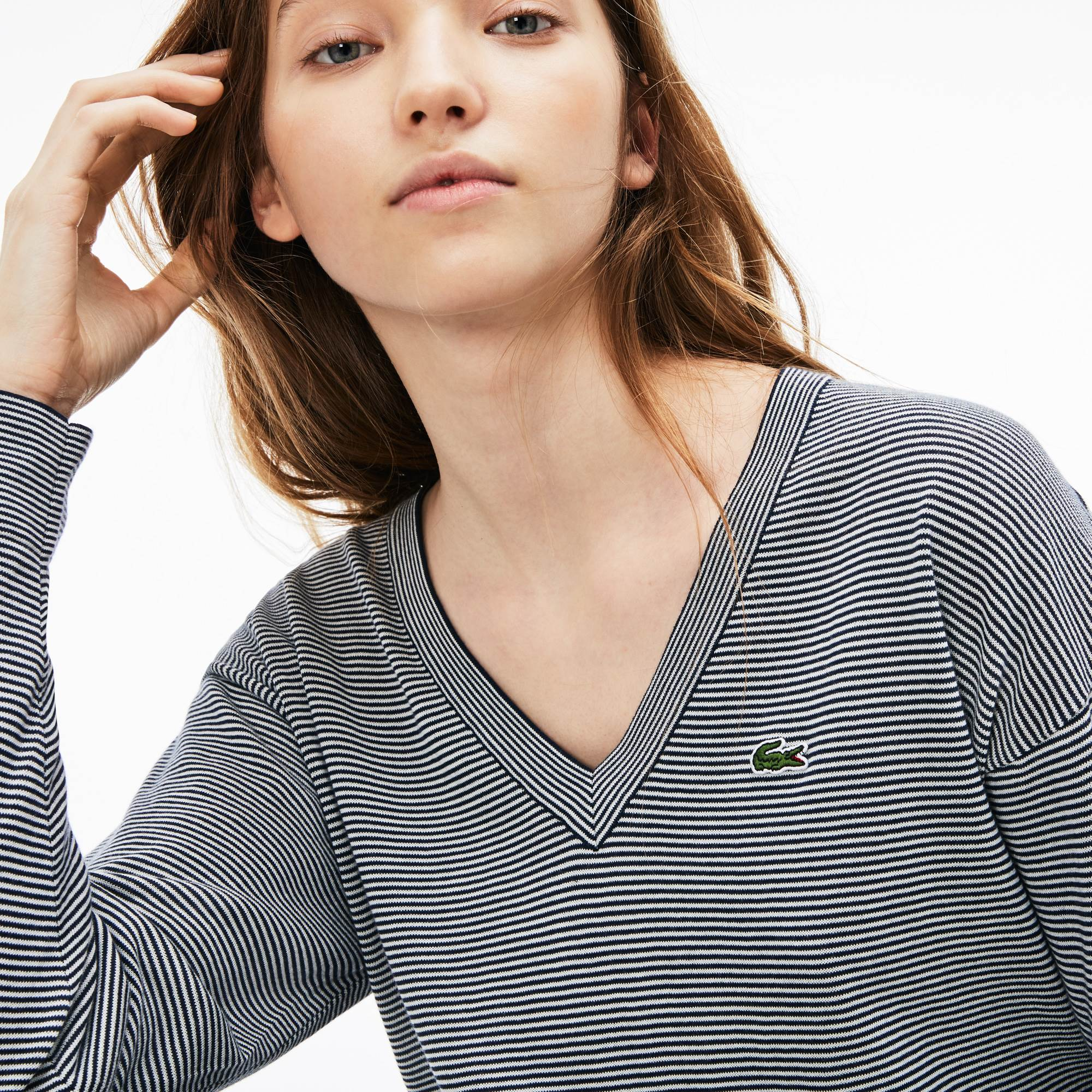 Women's V-neck Pinstriped Cotton Jersey Sweater