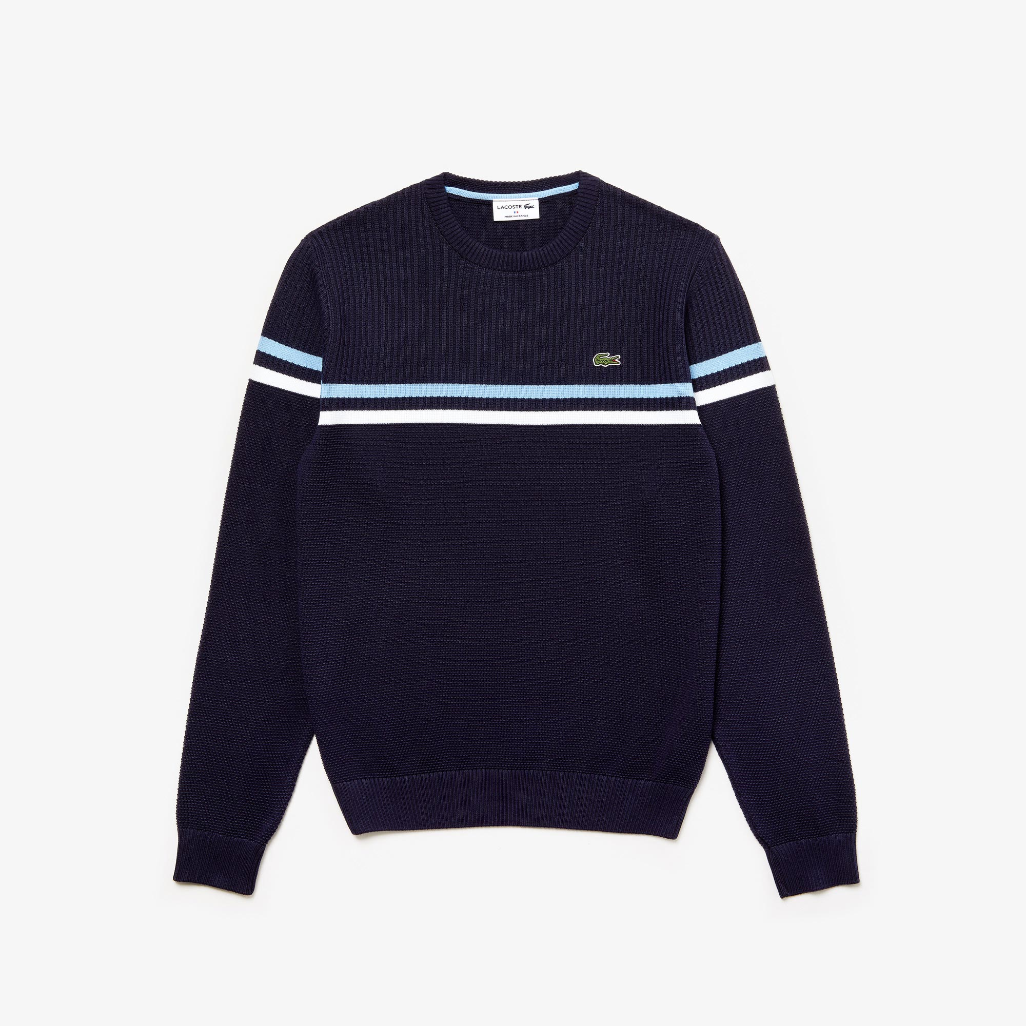 Men's MADE IN FRANCE Crew Neck Tricolour Striped Cotton Sweater