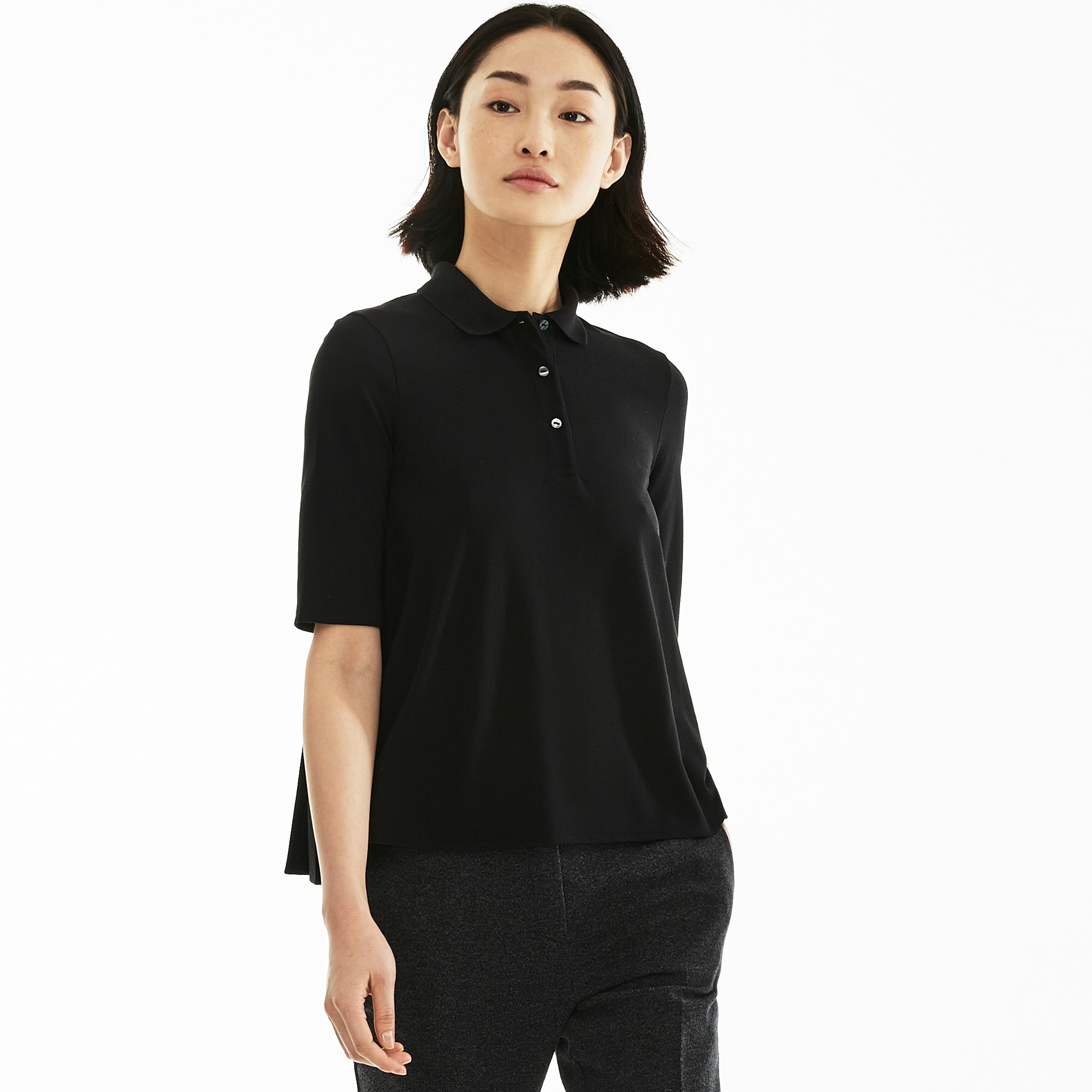 Women's Lacoste Pleated Back Petit Piqué Polo