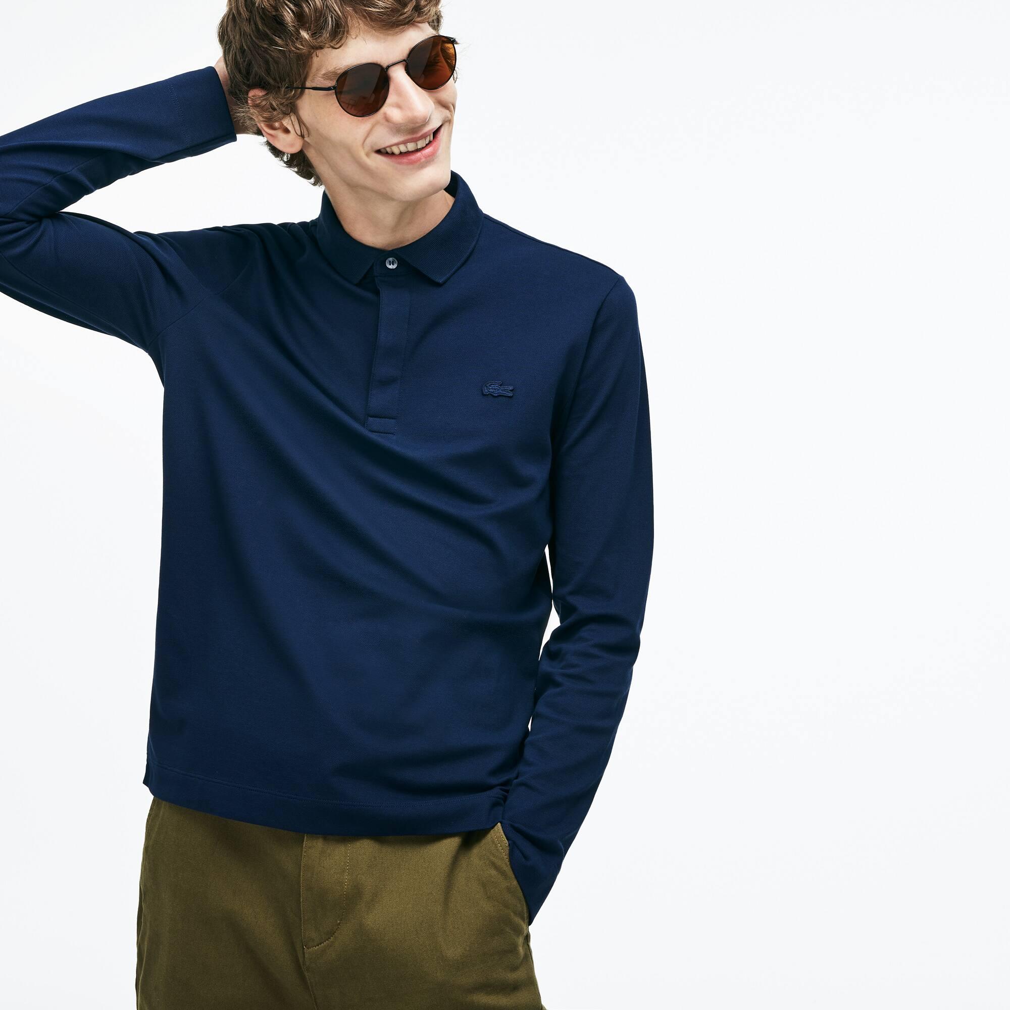 3aa56e5a1fac1d Men s Long-sleeve Lacoste Paris Polo Shirt Regular Fit Stretch Cotton Piqué
