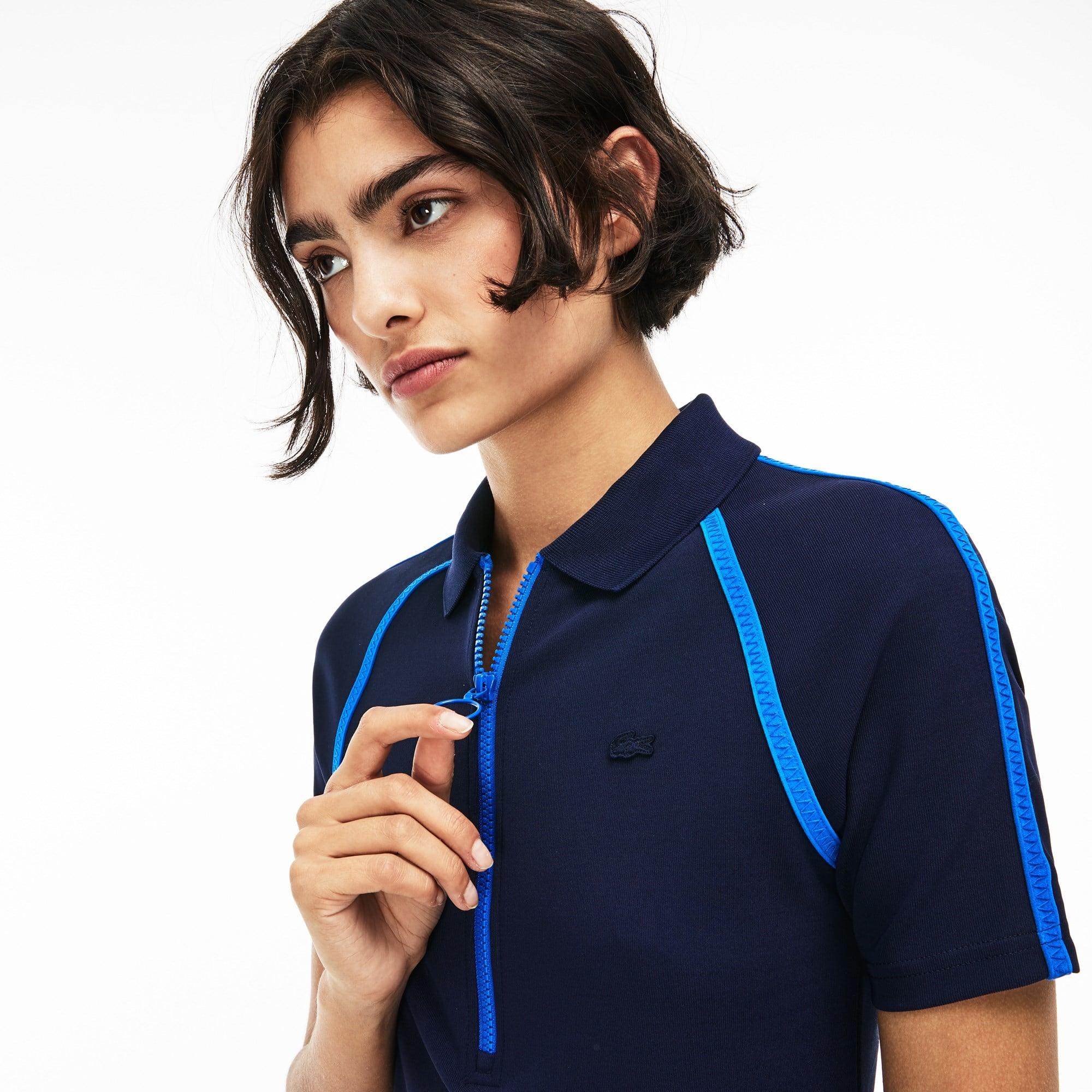 93074037ee8 Women s Lacoste LIVE Zip Polo Shirt Collar Contrast Bands Dress