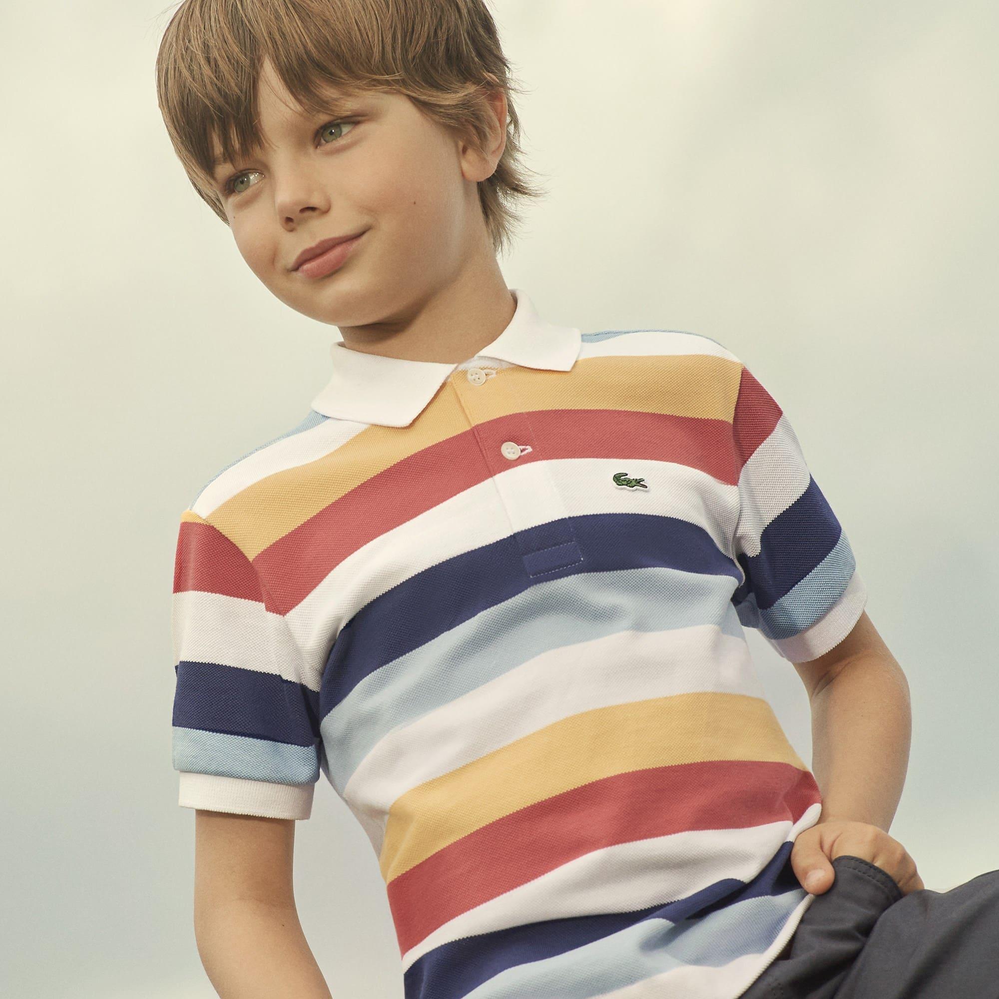 Boys' Lacoste Colored Stripes Piqué Polo Shirt