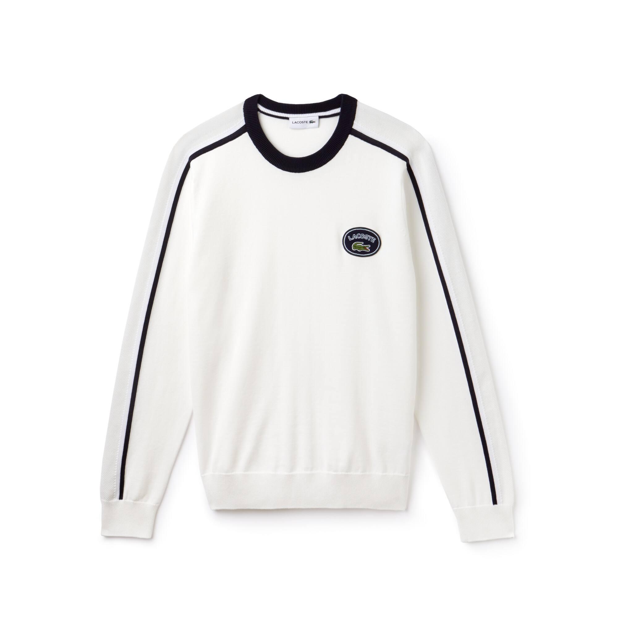 Men's Crew Neck Contrast Accents Cotton Jersey Sweater
