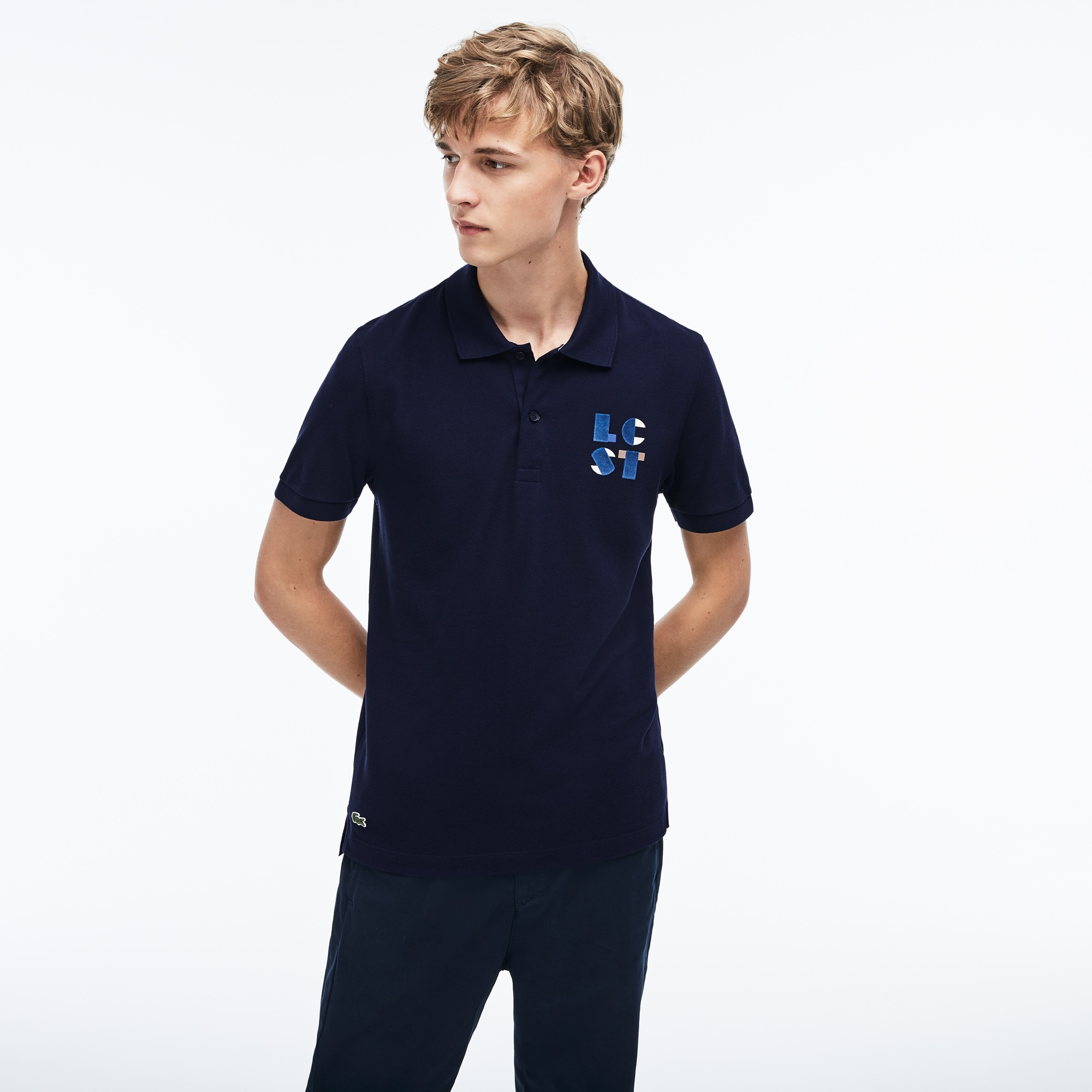 Men's Lacoste Regular Fit LCST Lettering Petit Piqué Polo Shirt