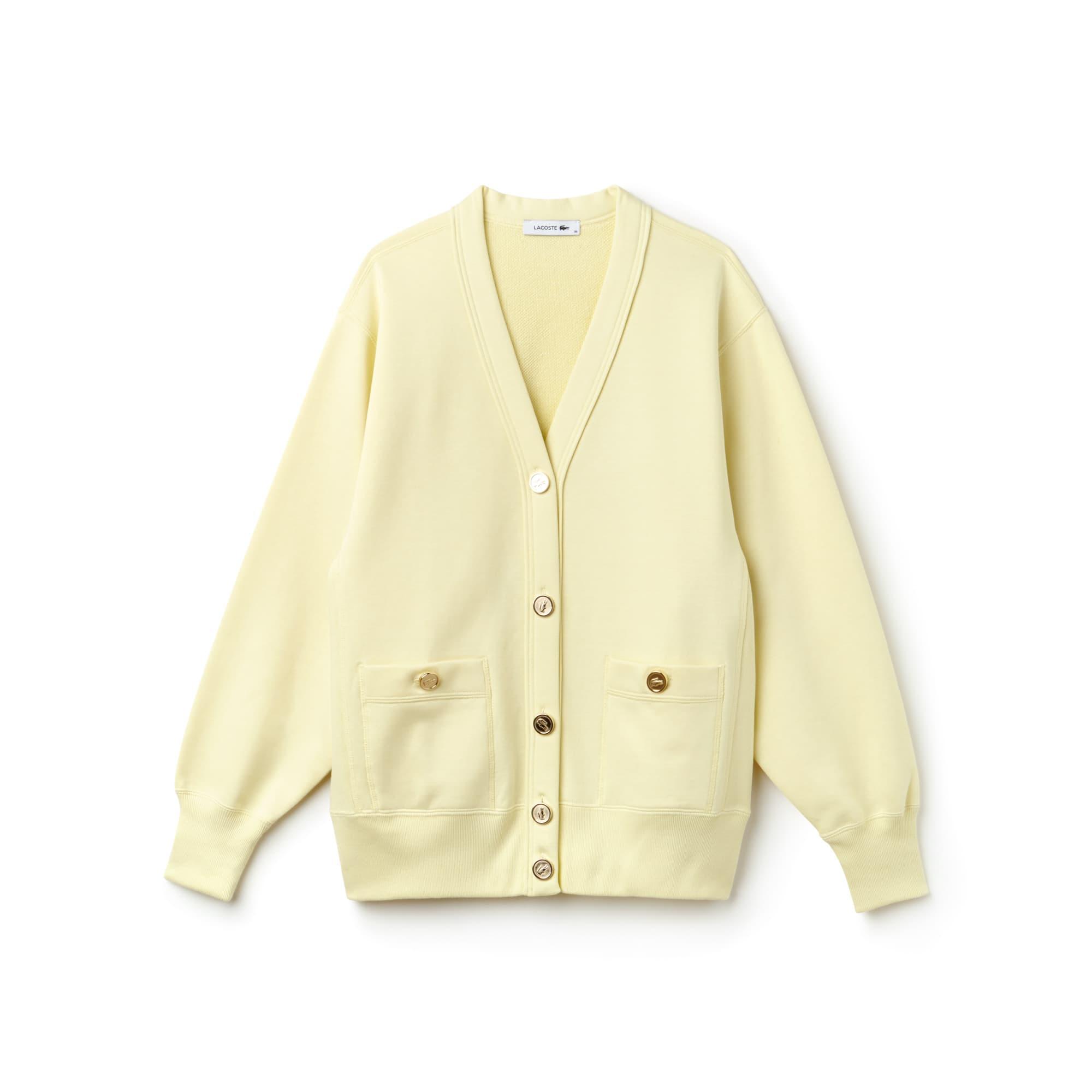 Women's Fashion Show Buttoned Cotton Fleece Cardigan