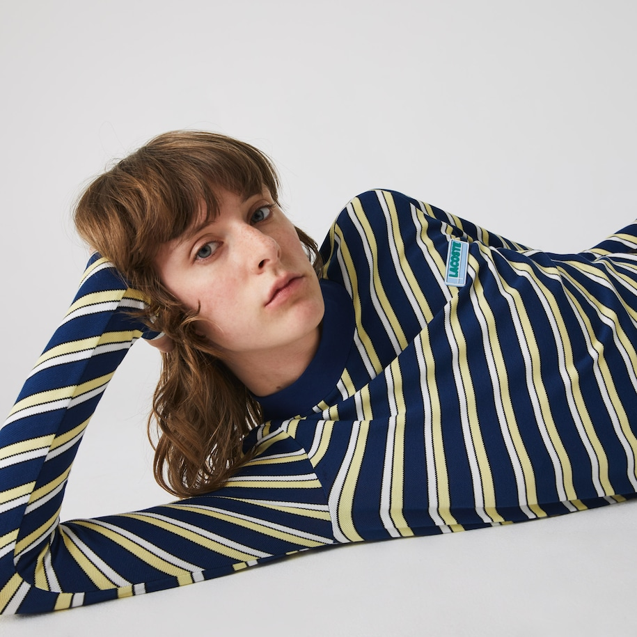 Women's Lacoste LIVE Colourfully Striped Piqué Turtleneck T-shirt