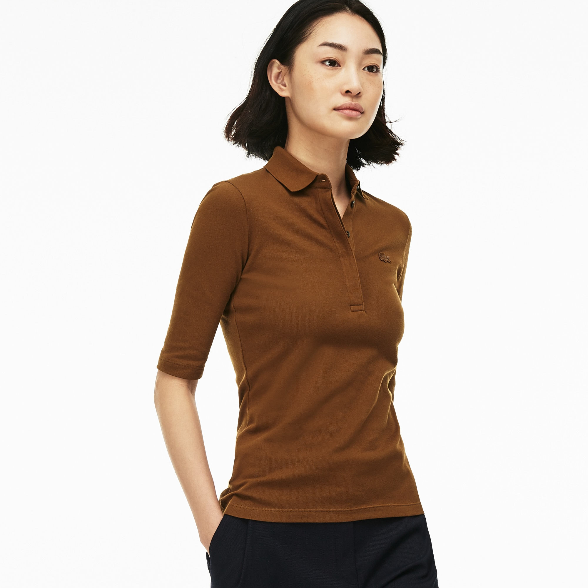 Women's Lacoste Slim Fit Stretch Mini Piqué Polo