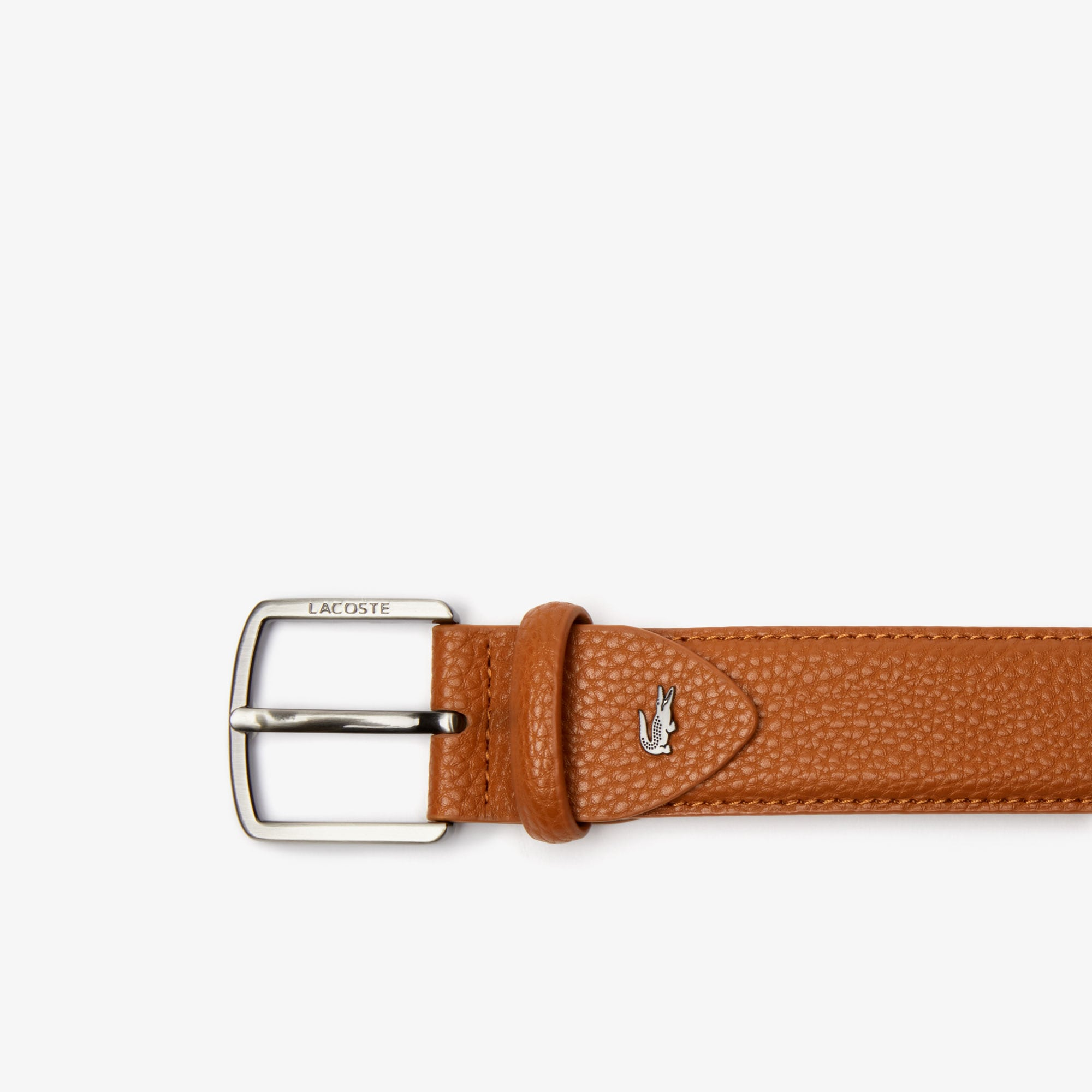 Men's Lacoste Engraved Buckle Grained Effect Belt