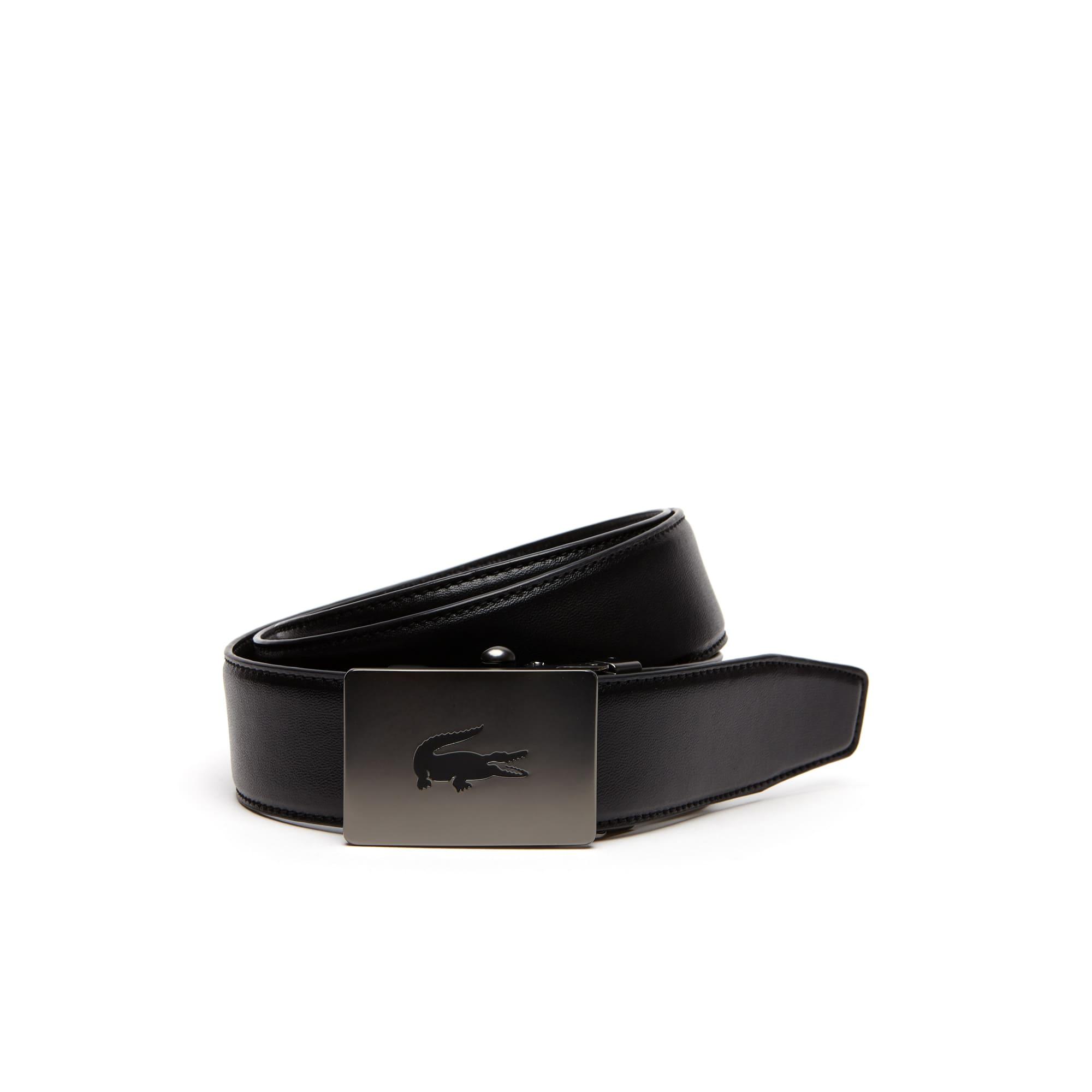 Men's Crocodile Engraved Plate Buckle Stretch Leather Belt