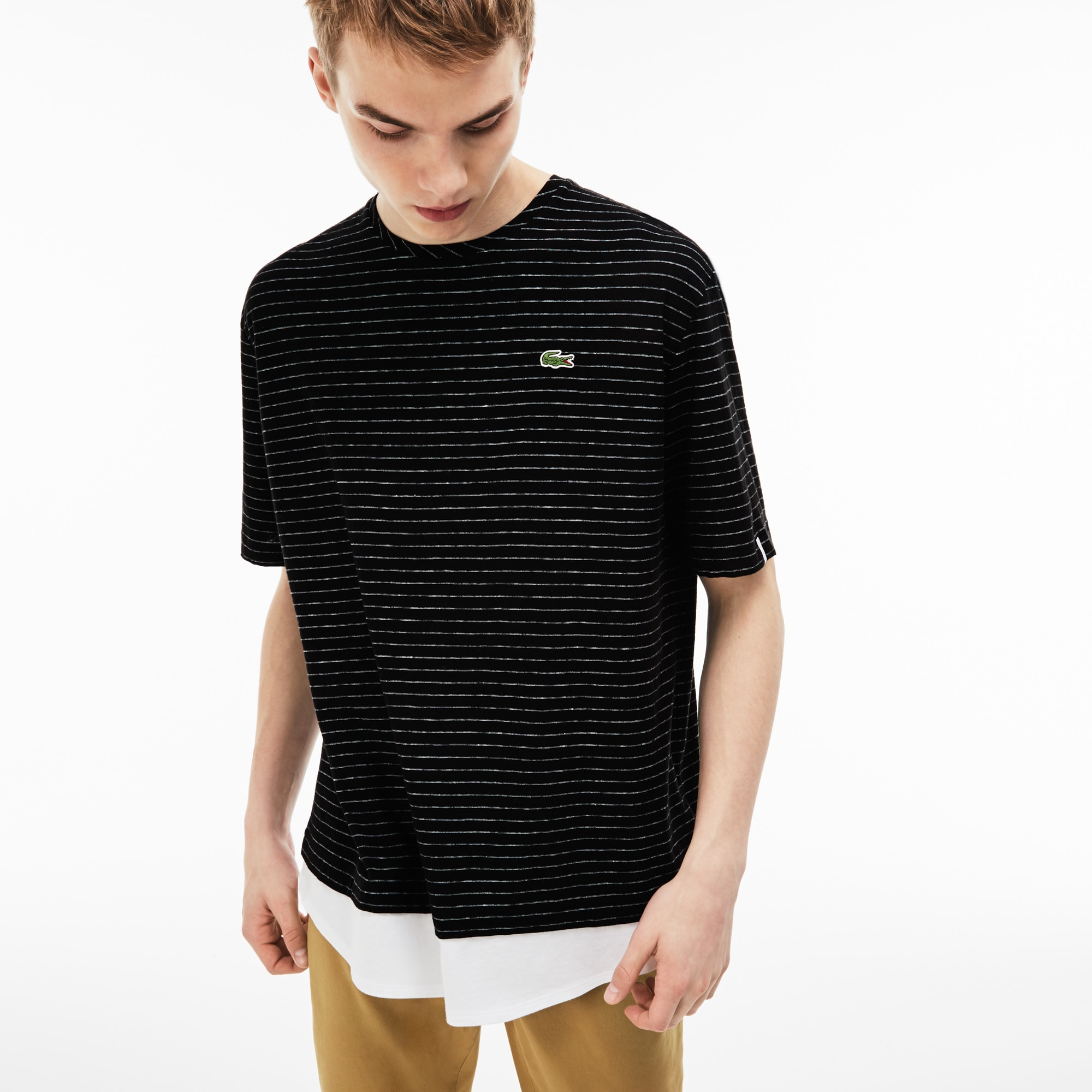 Men's Lacoste LIVE Crew Neck Striped Linen And Cotton Jersey T-shirt