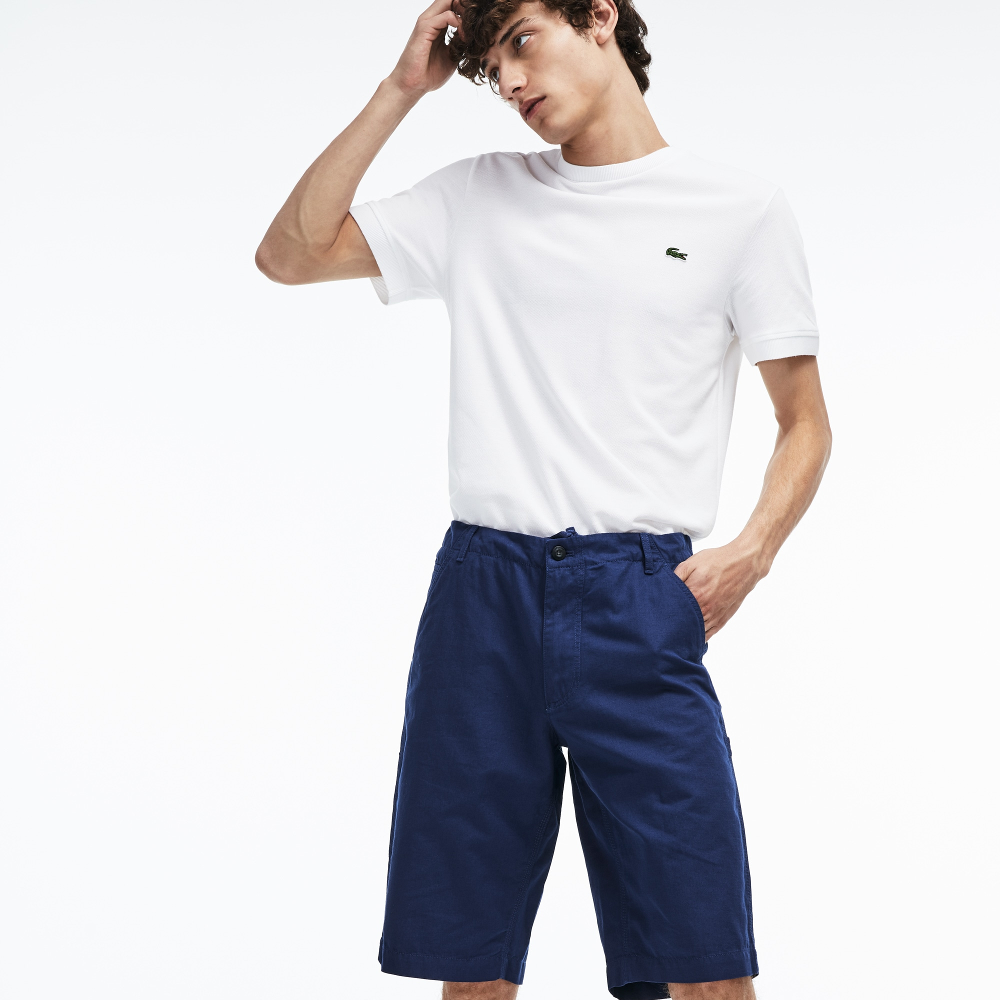 Men's Regular Fit Cotton And Linen Long Bermuda Shorts