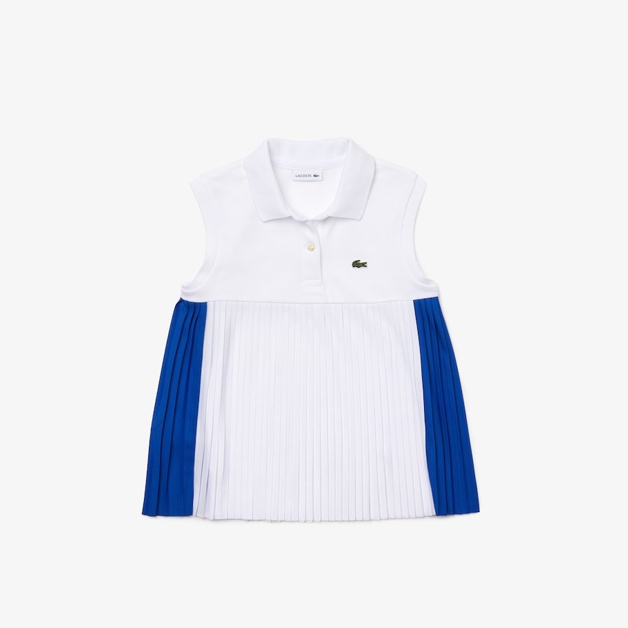 Girls' Lacoste Pleated Basque Cotton Polo Shirt