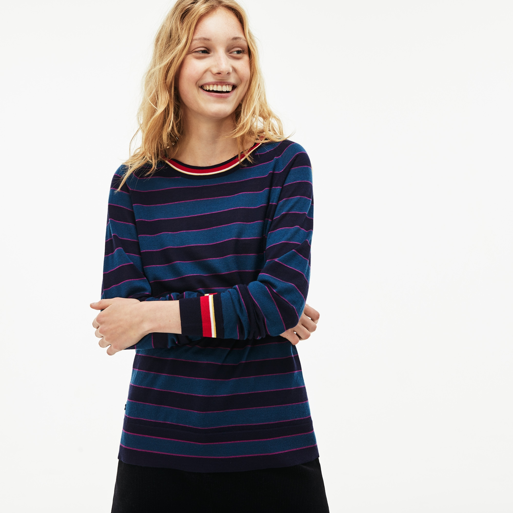 Women's Crew Neck Contrast Accent Striped Wool Jersey Sweater