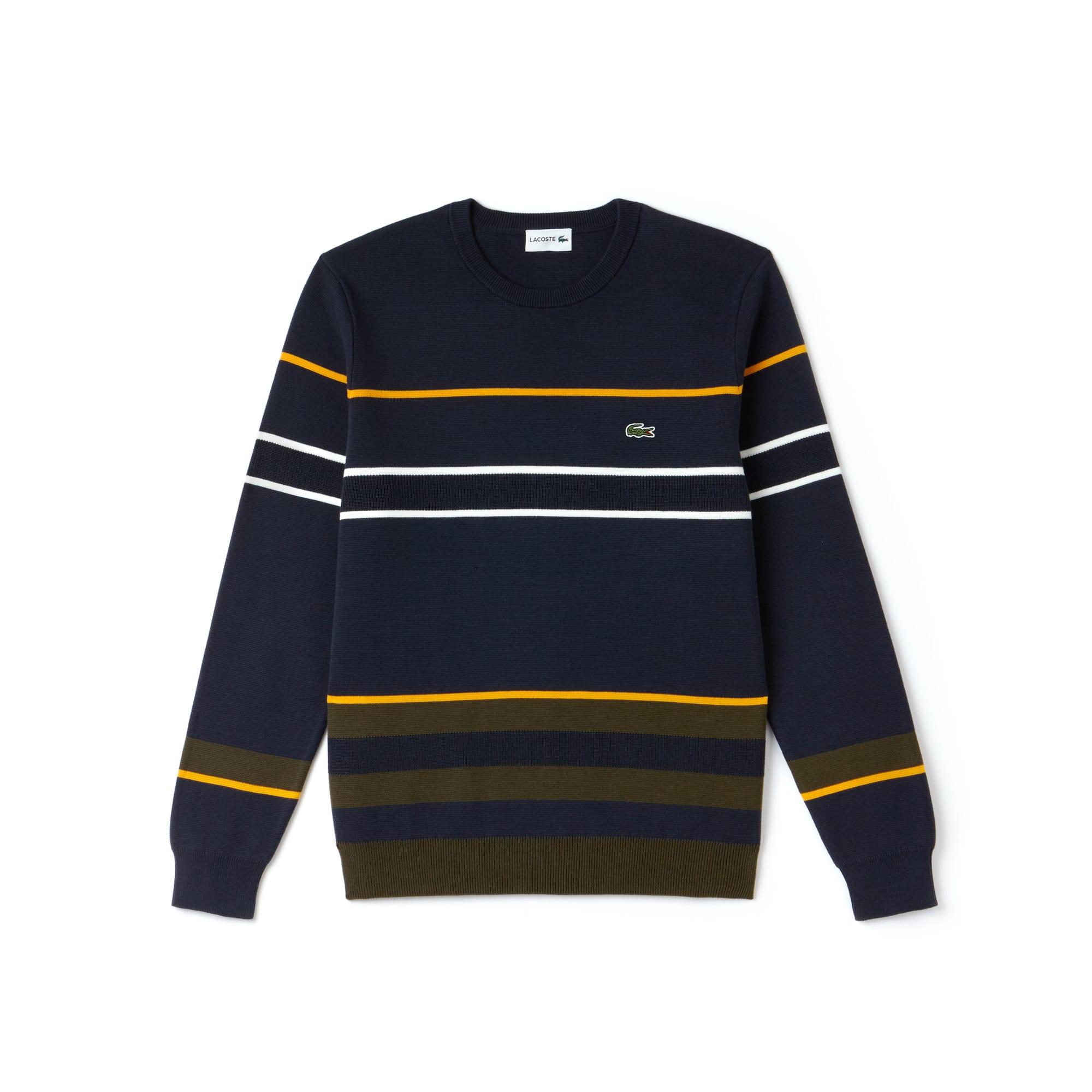 Men's Crew Neck Multicolor Striped Milano Cotton Sweater