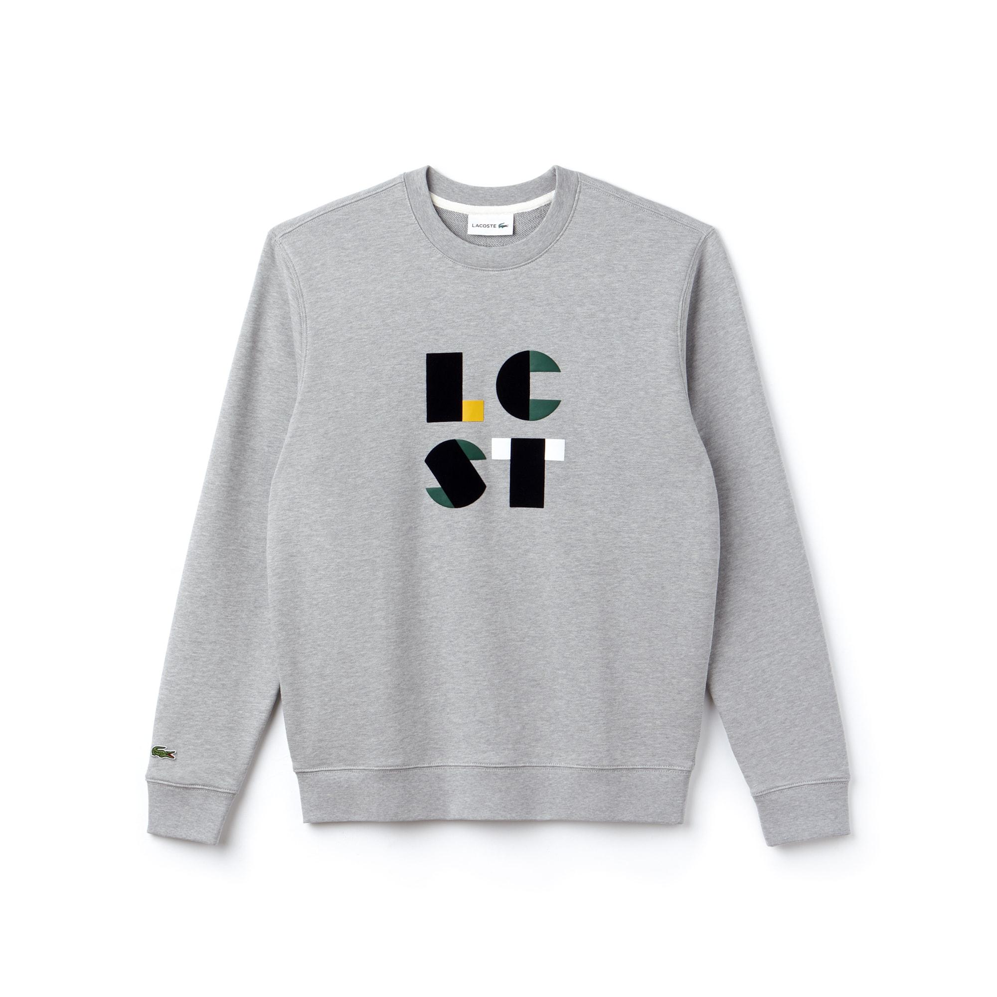 Men's Crew Neck Lacoste Lettering Cotton Fleece Sweatshirt