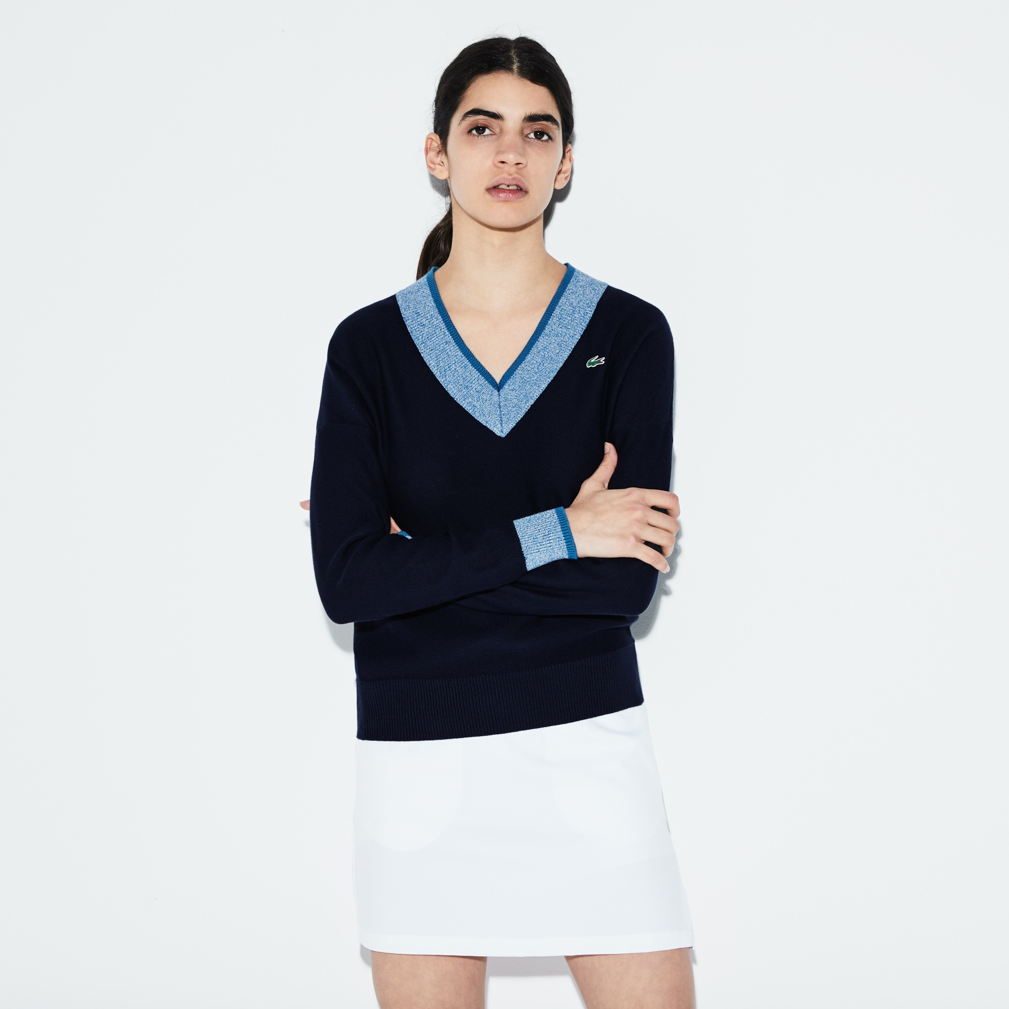 Women's Lacoste SPORT V-neck Contrast Finish Jersey Golf Sweater