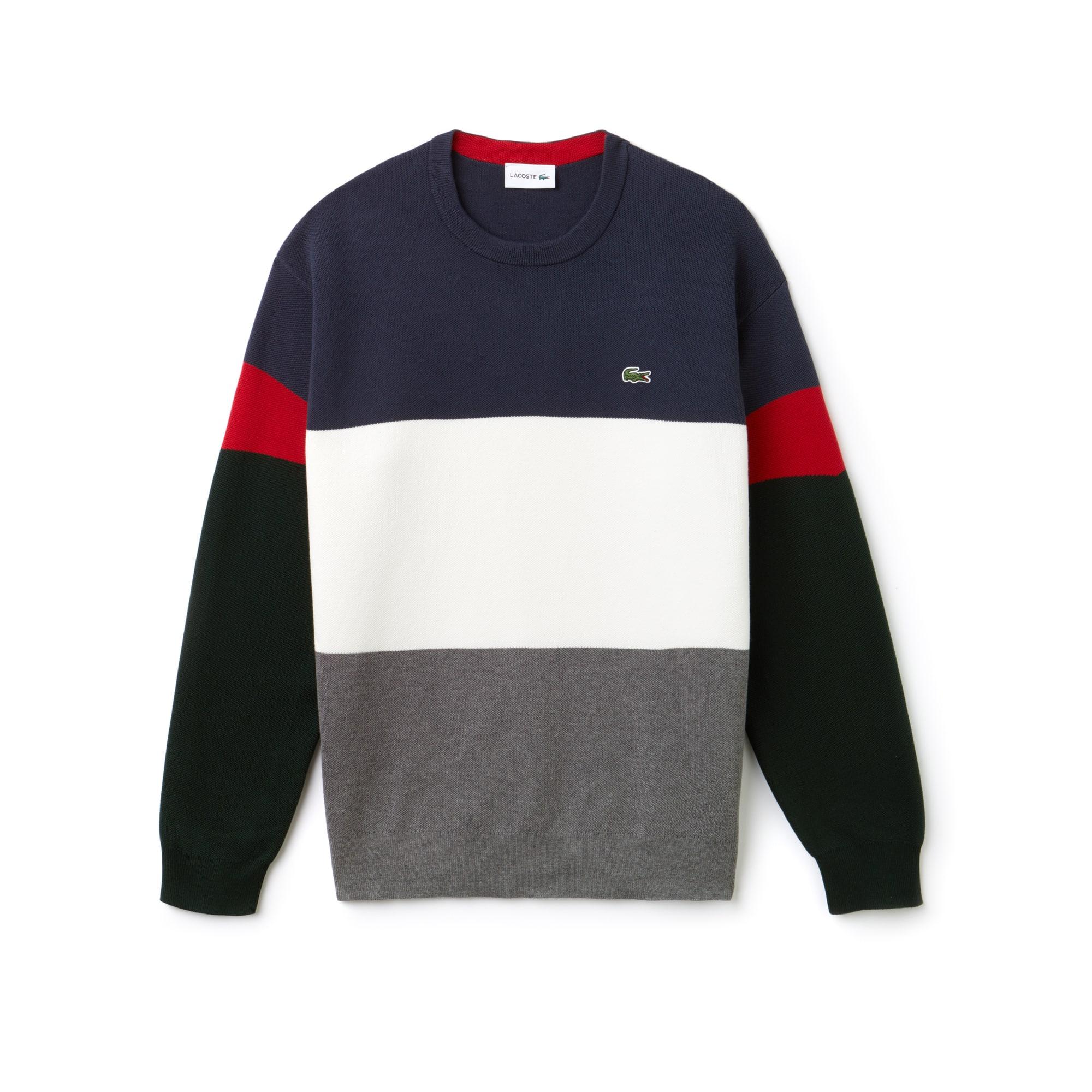 Men's Crew Neck Colorblock Flat Ribbed Cotton Sweater