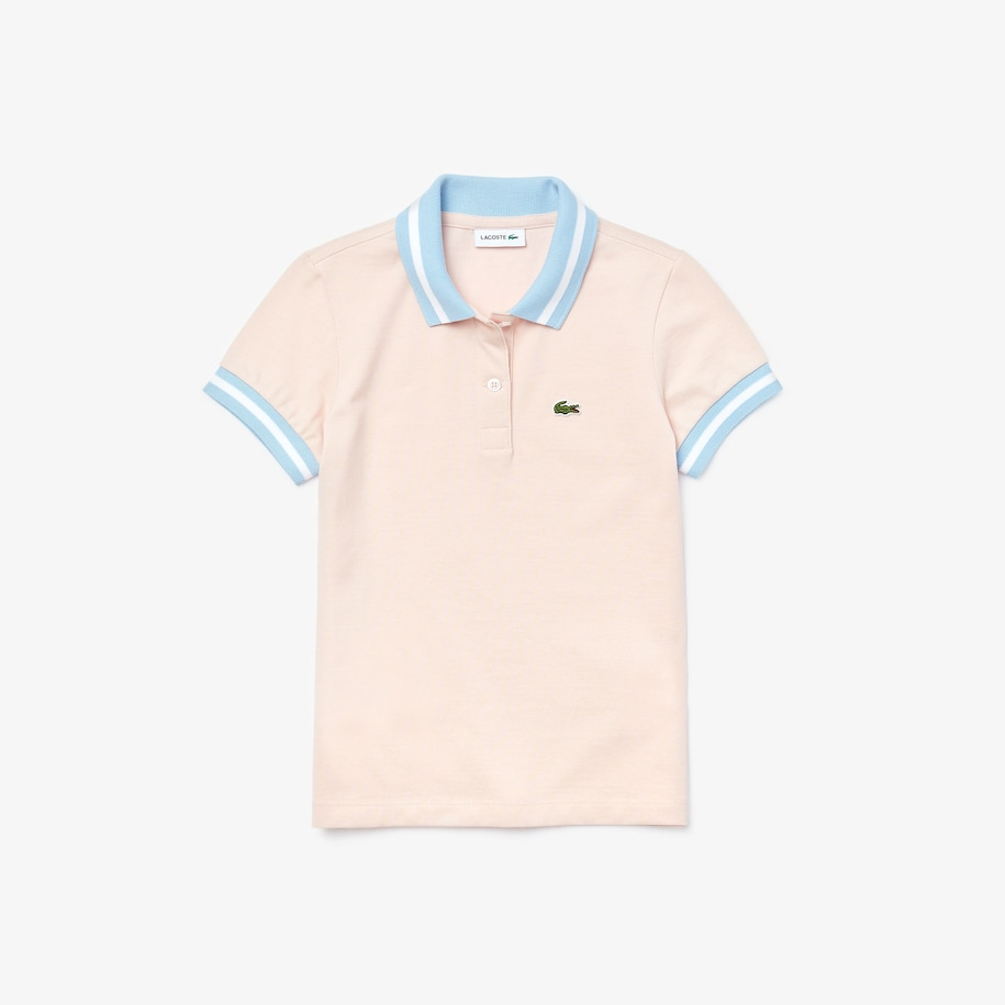 Girls' Lacoste Straight fit Striped Details Cotton Piqué Polo Shirt