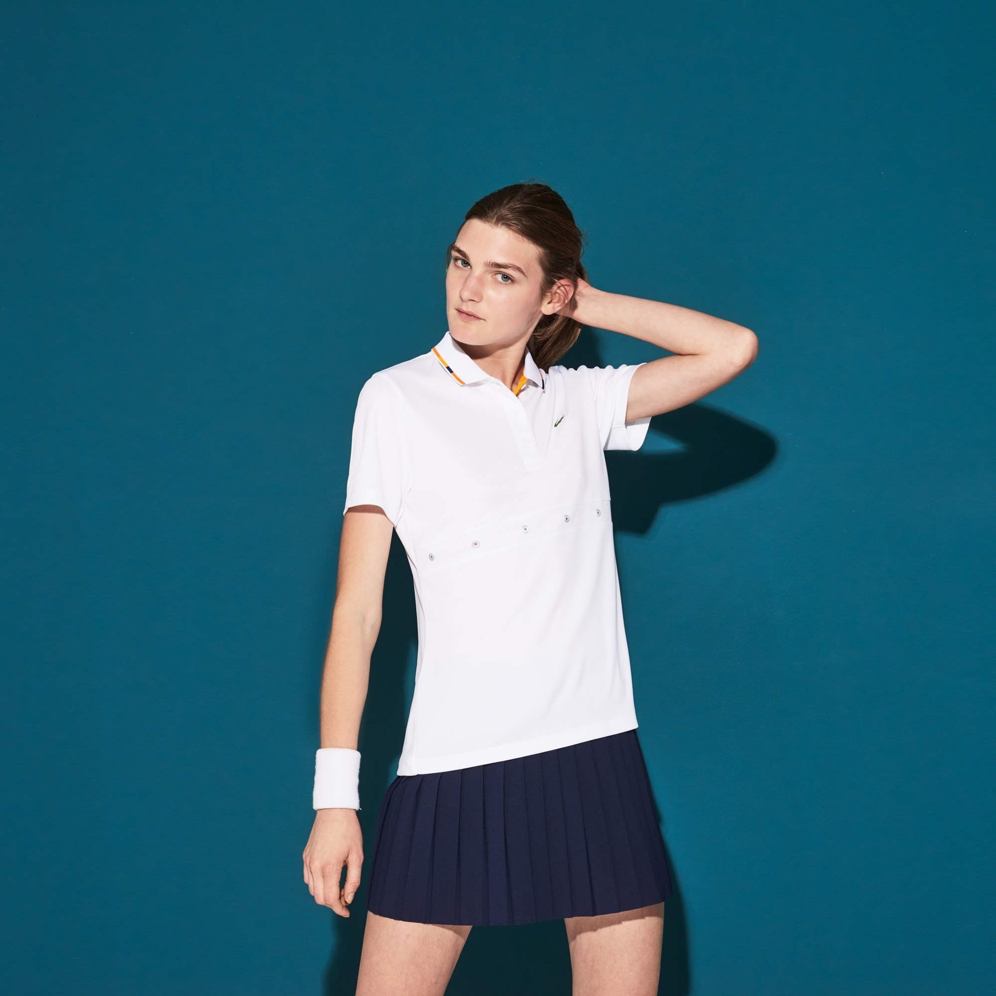 Women's Lacoste SPORT Contrast Collar Tech Piqué Tennis Polo