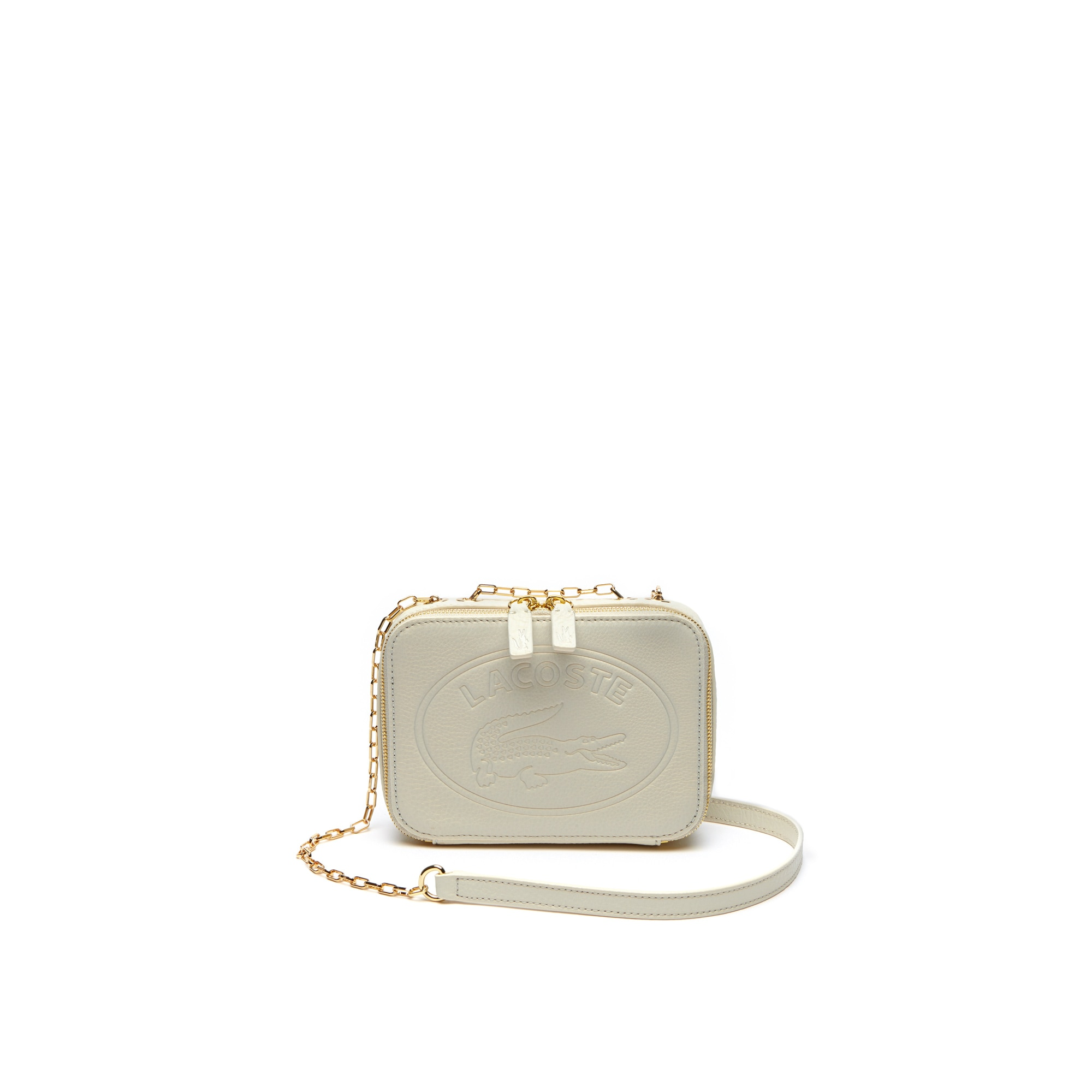Women's Fashion Show Oval Lacoste Logo Grained Leather Crossover Bag
