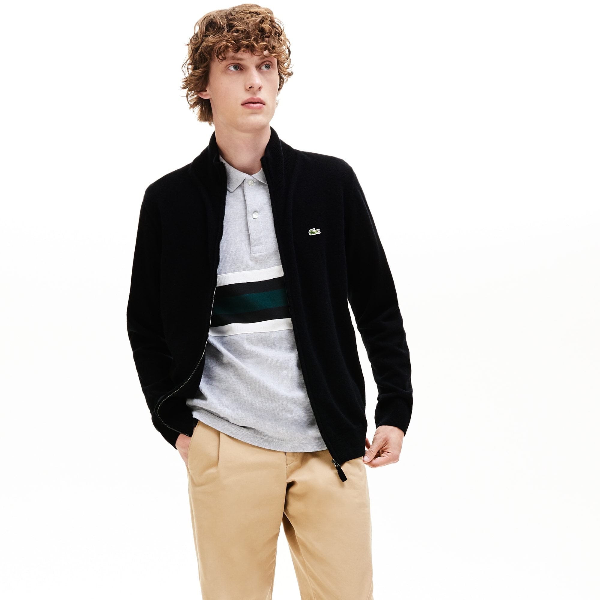 Men's Zippered Stand-Up Collar Wool Jersey Cardigan