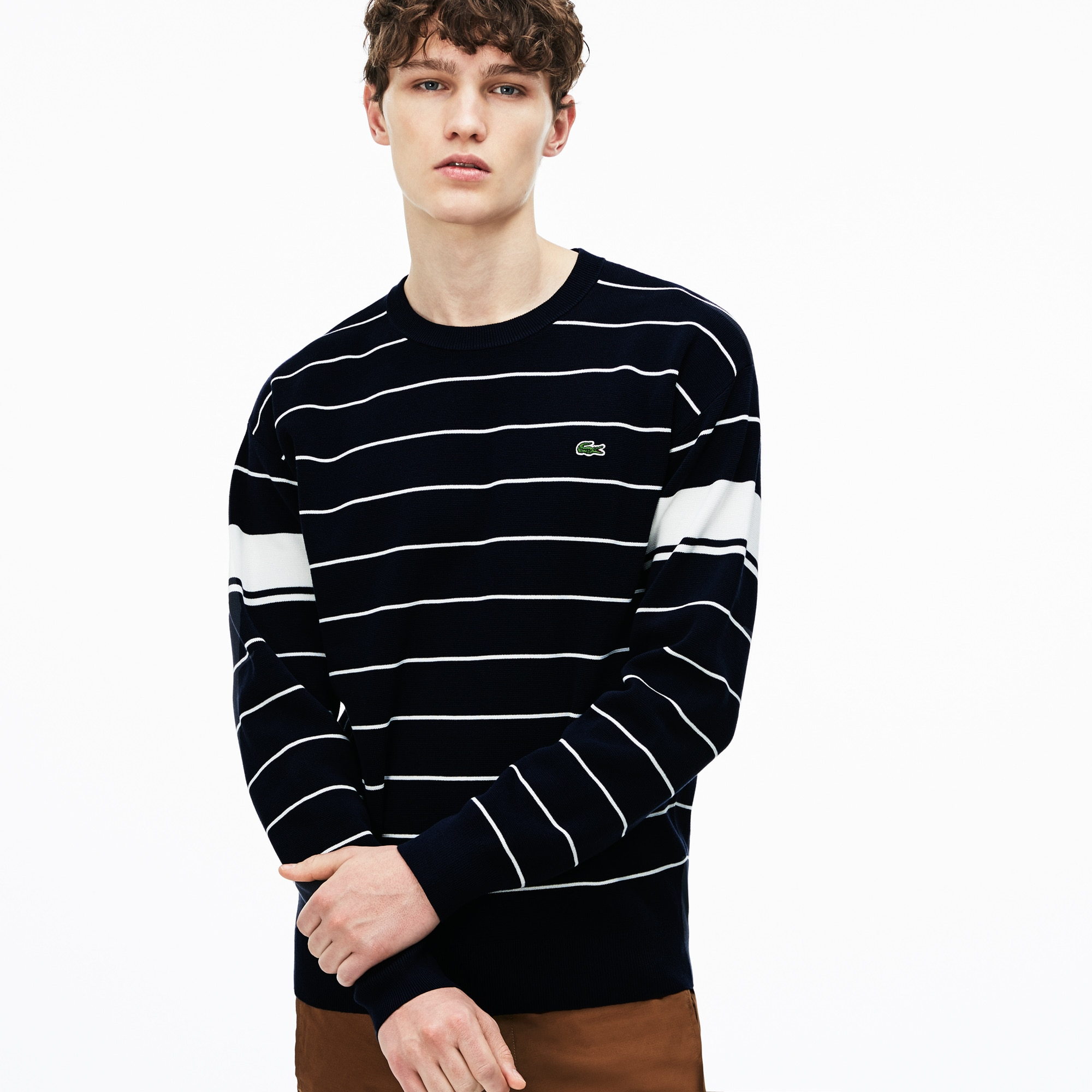 Men's Crew Neck Contrast Bands Striped Milano Cotton Sweater