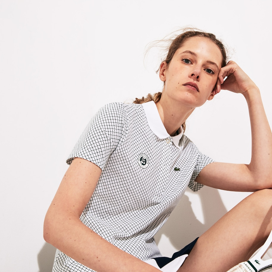 Women's Lacoste SPORT Roland Garros Print Cotton Polo Shirt