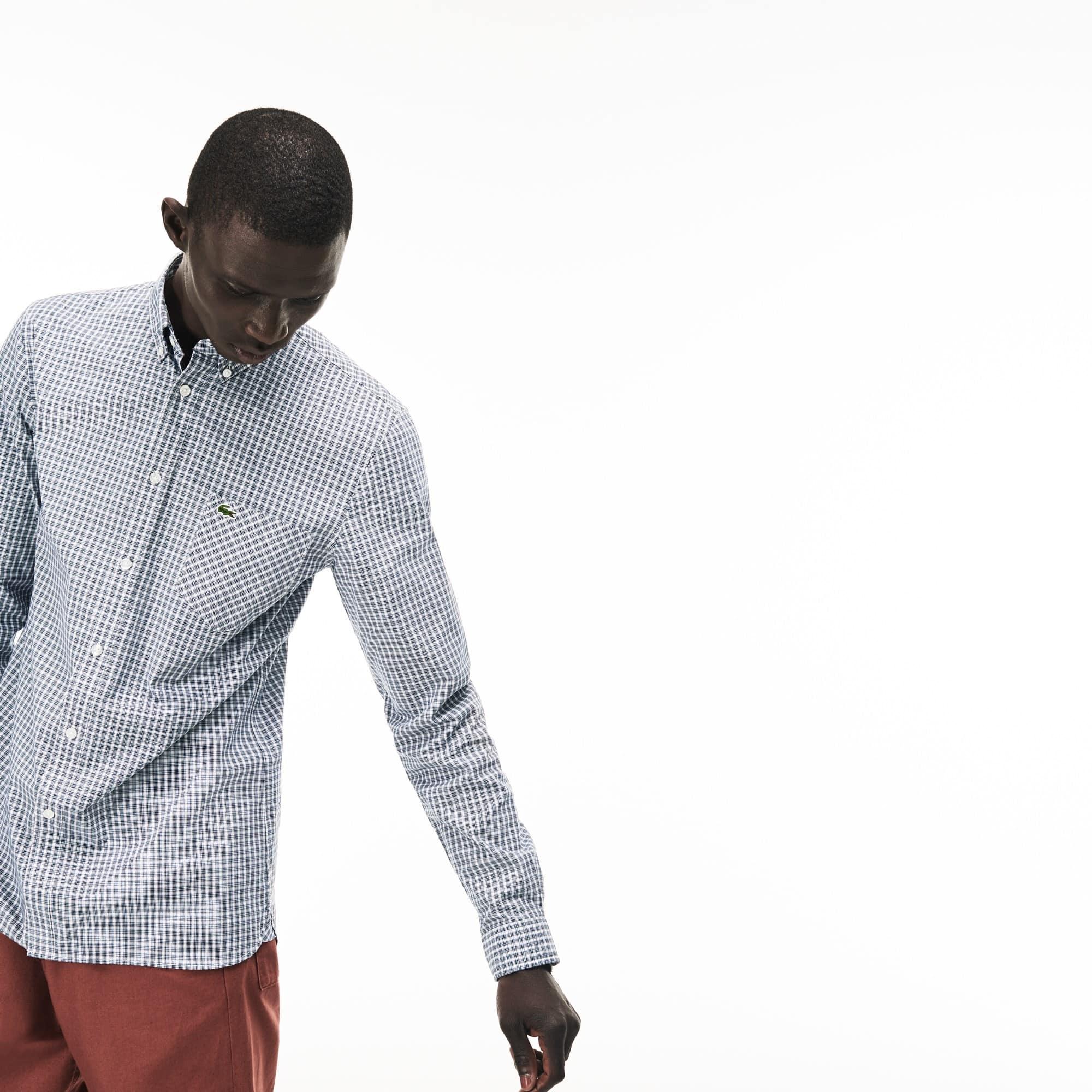 Men's Slim Fit Bicolour Check Stretch Cotton Poplin Shirt