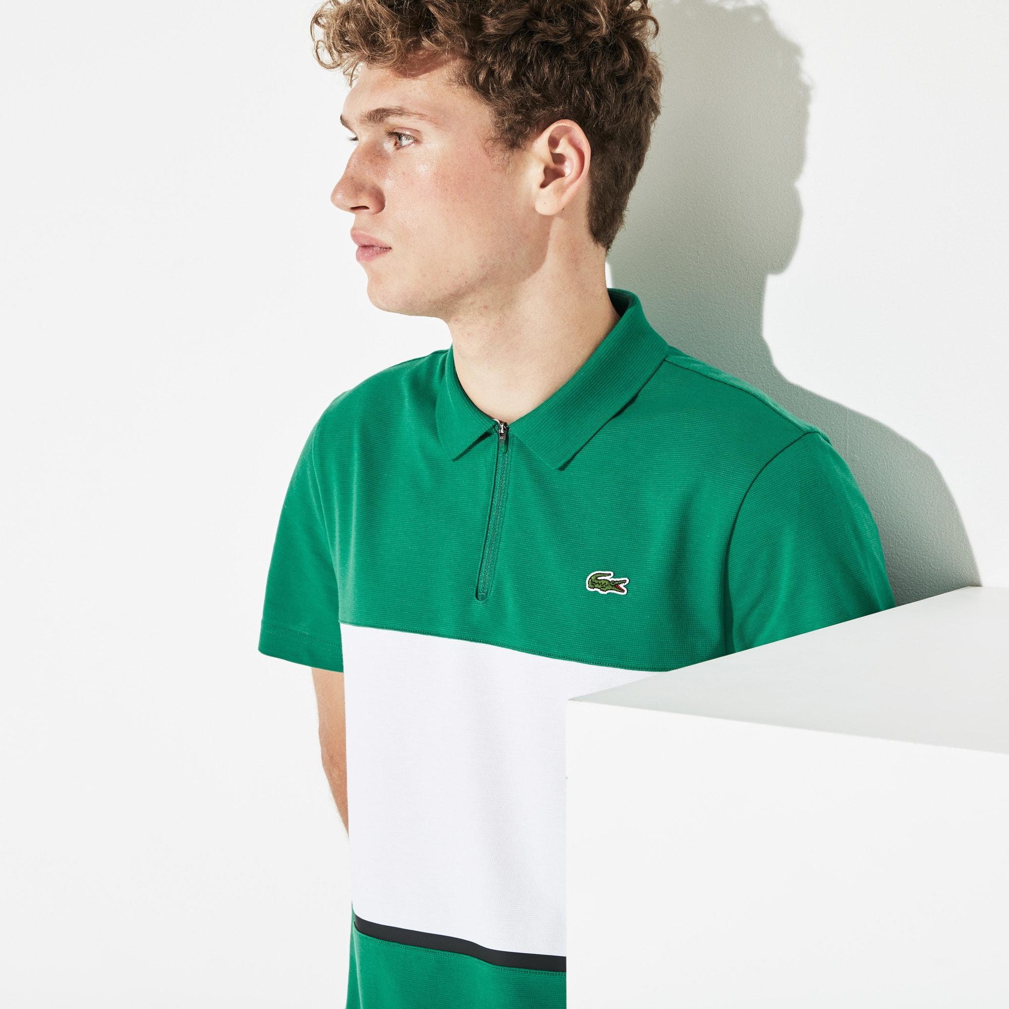 91cbb29a Men's Lacoste SPORT Zip Neck Colourblock Ultra Light Cotton Polo Shirt