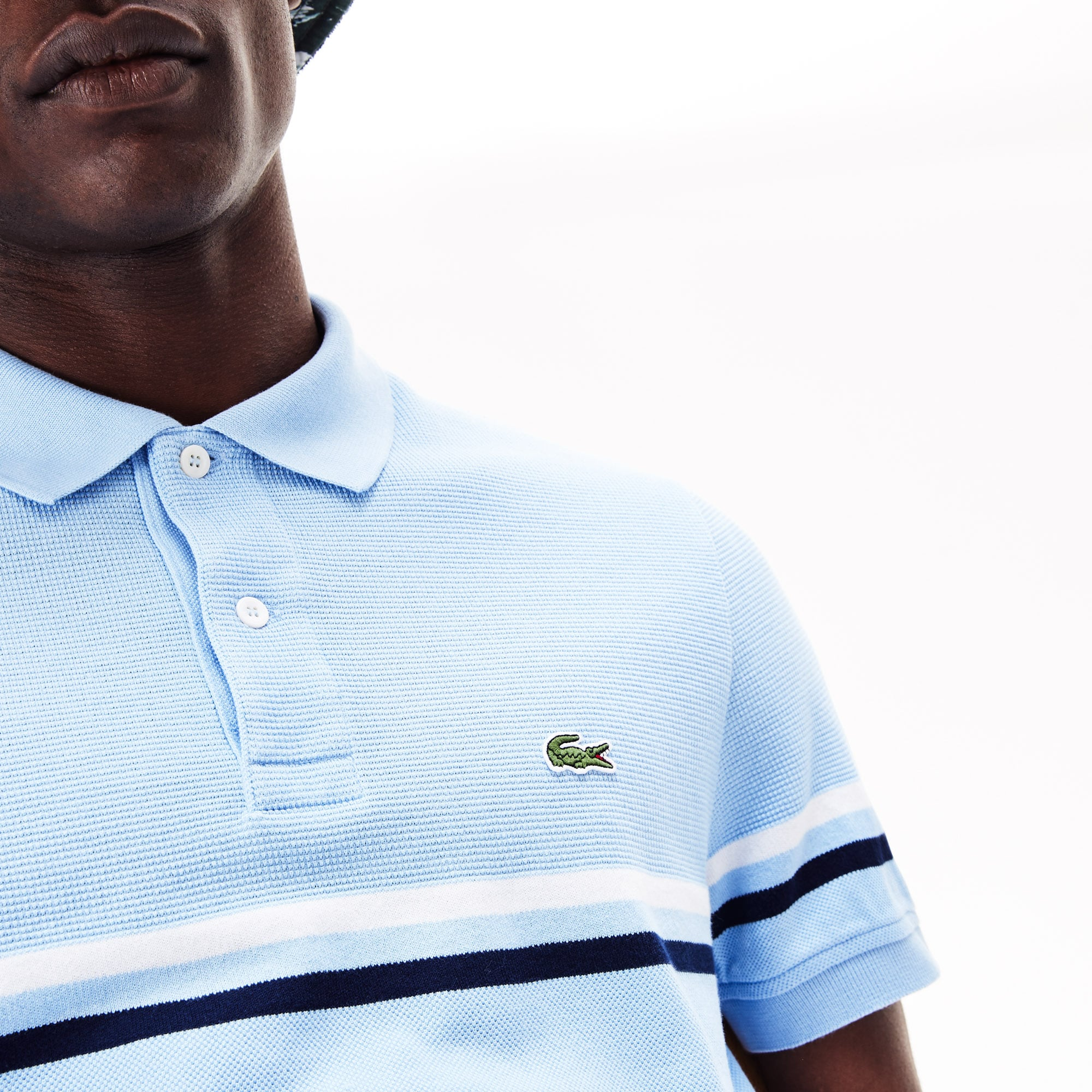 Men's Lacoste Regular Fit MADE IN FRANCE Tricolour Striped Piqué Polo Shirt