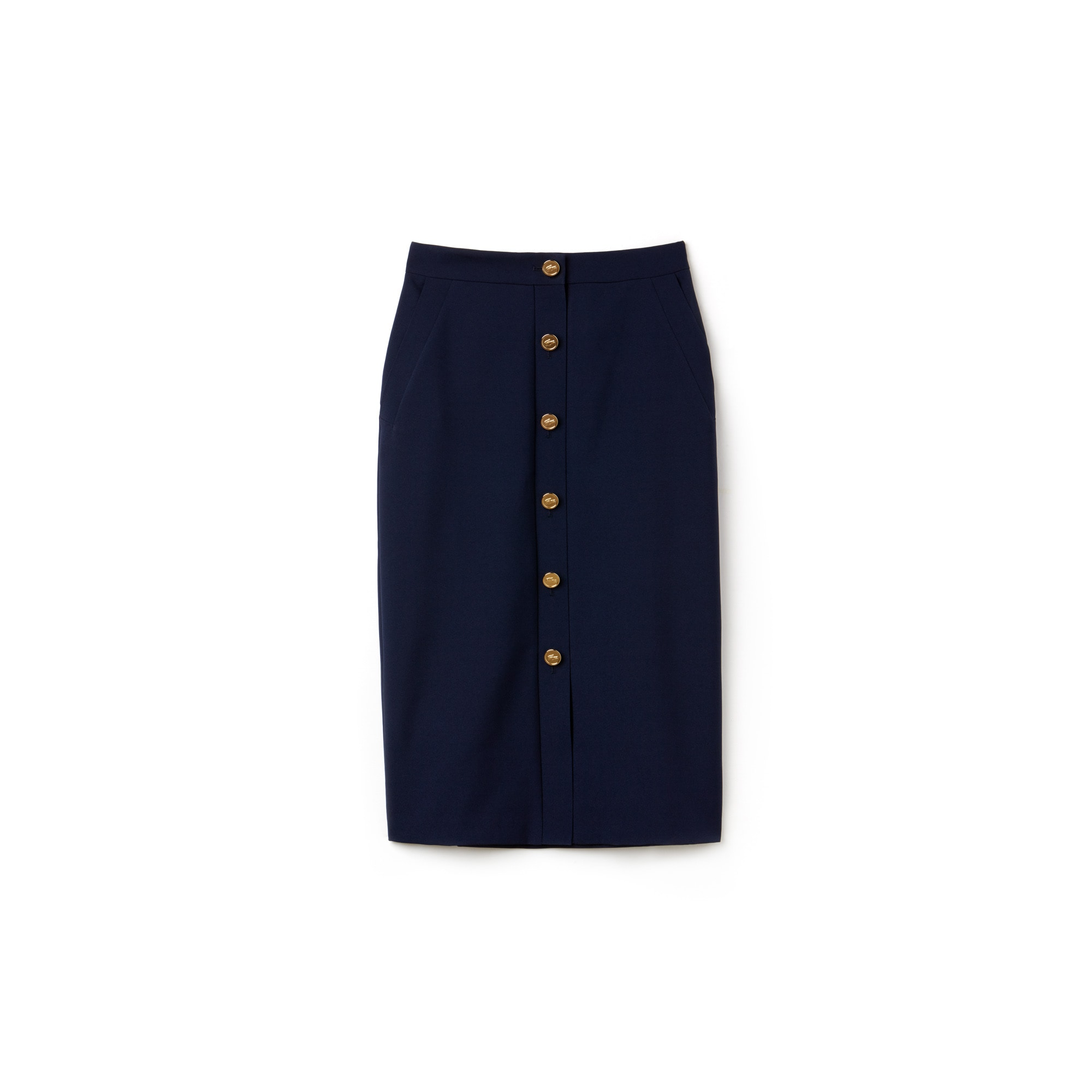 Women's Fashion Show High-Waisted Buttoned Crepe Skirt