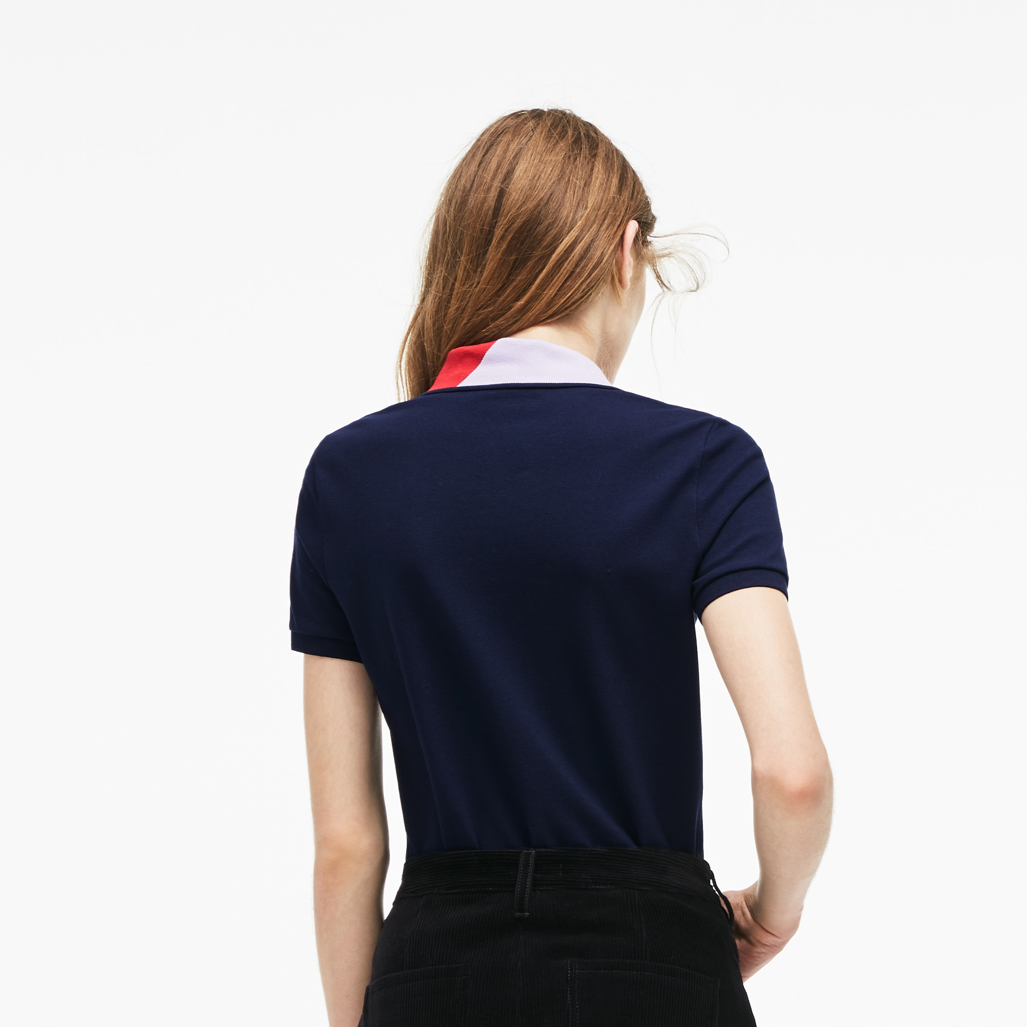 Women's Lacoste Slim Fit Colorblock Neck Stretch Mini Piqué Polo...