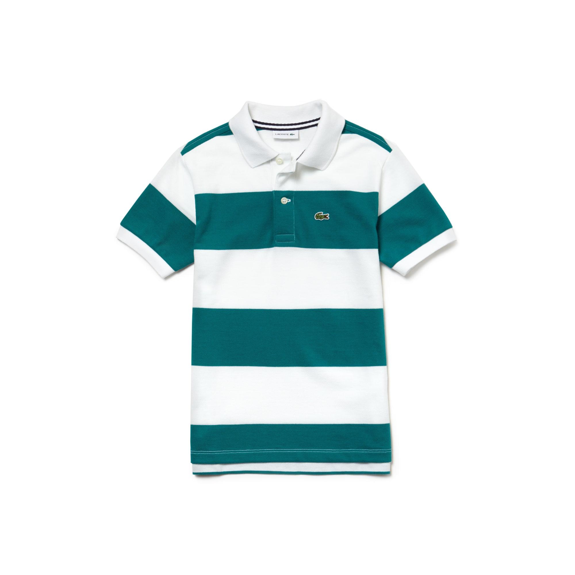 Boys' Lacoste Striped Cotton Petit Piqué Polo Shirt