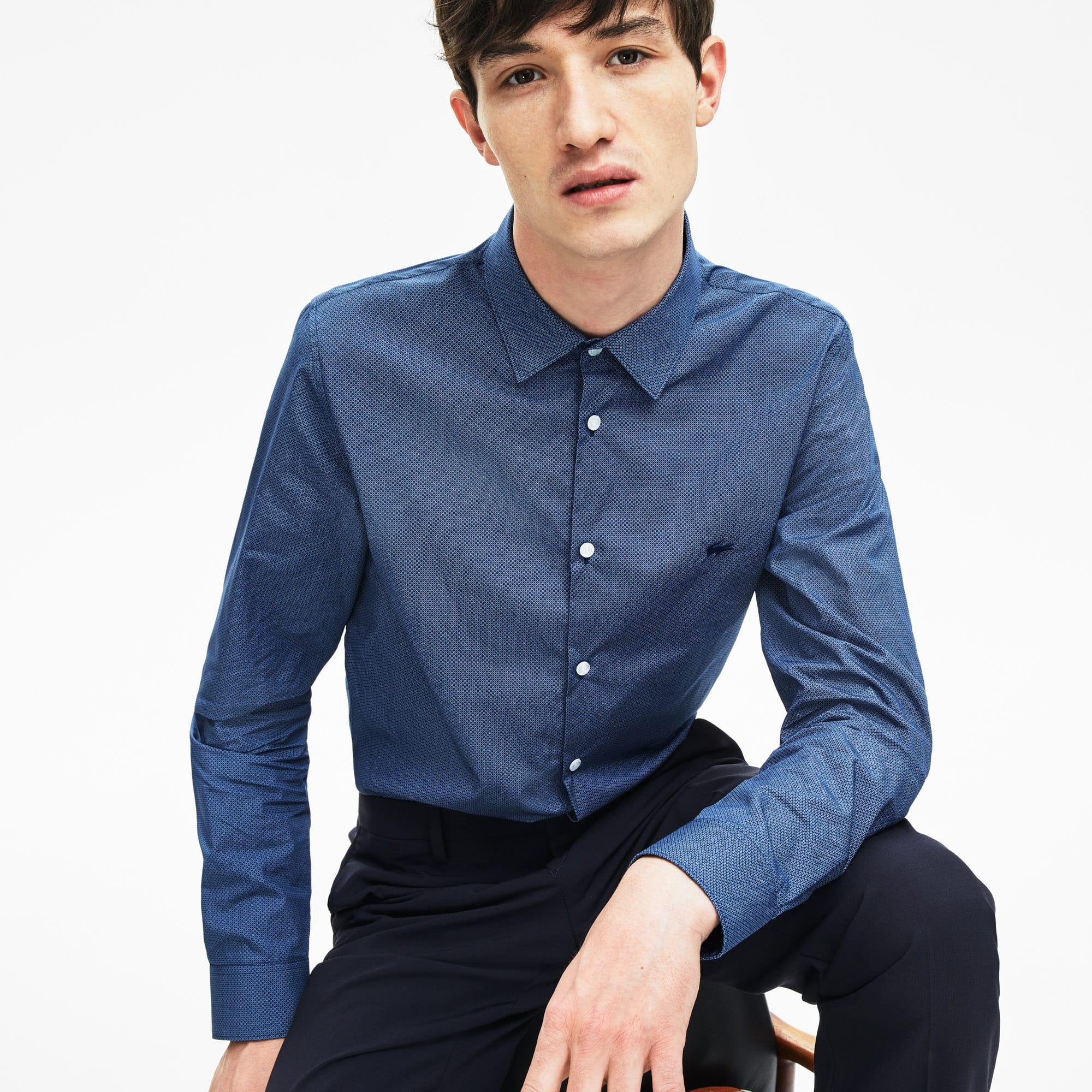 51c824ca504af8 Men's Slim Fit Chest Pocket Print Cotton Poplin Shirt   LACOSTE
