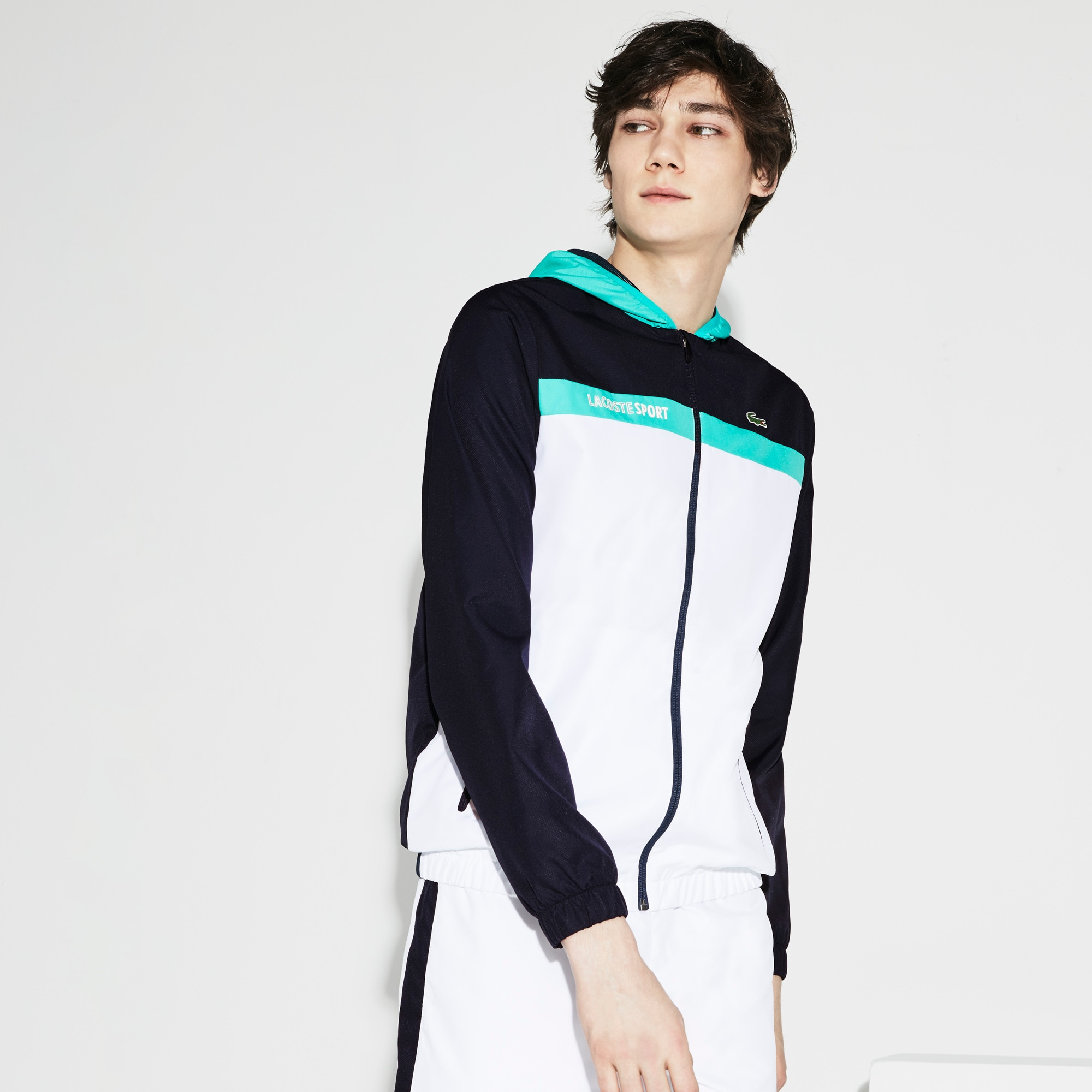 Men's Lacoste SPORT Hooded Colorblock Taffeta Tennis Jacket