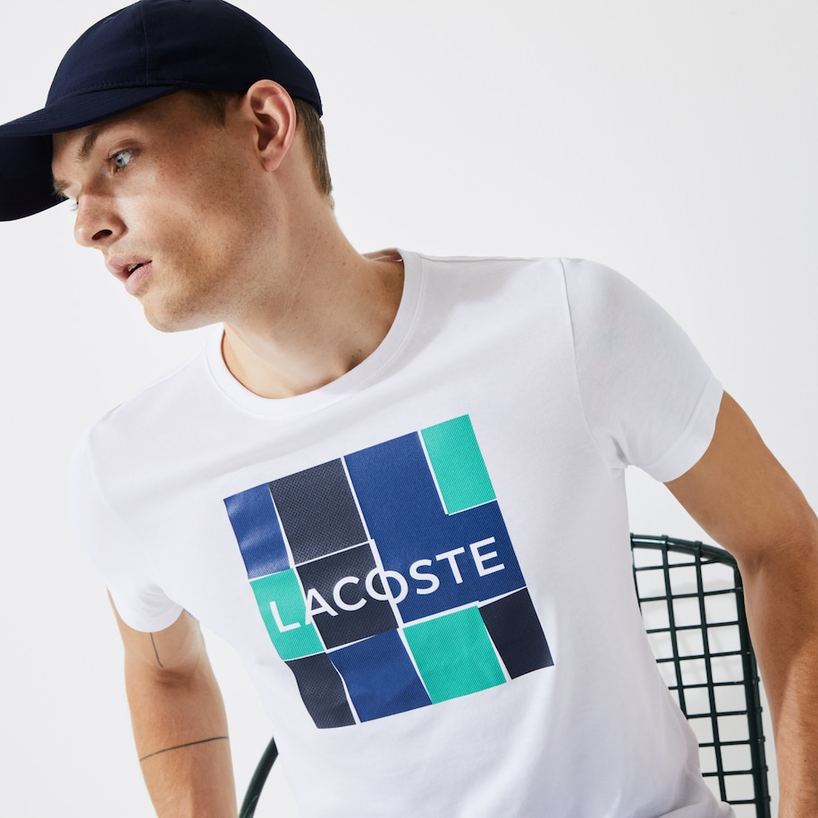 Men's Lacoste SPORT Graphic Print Breathable Jersey T-shirt