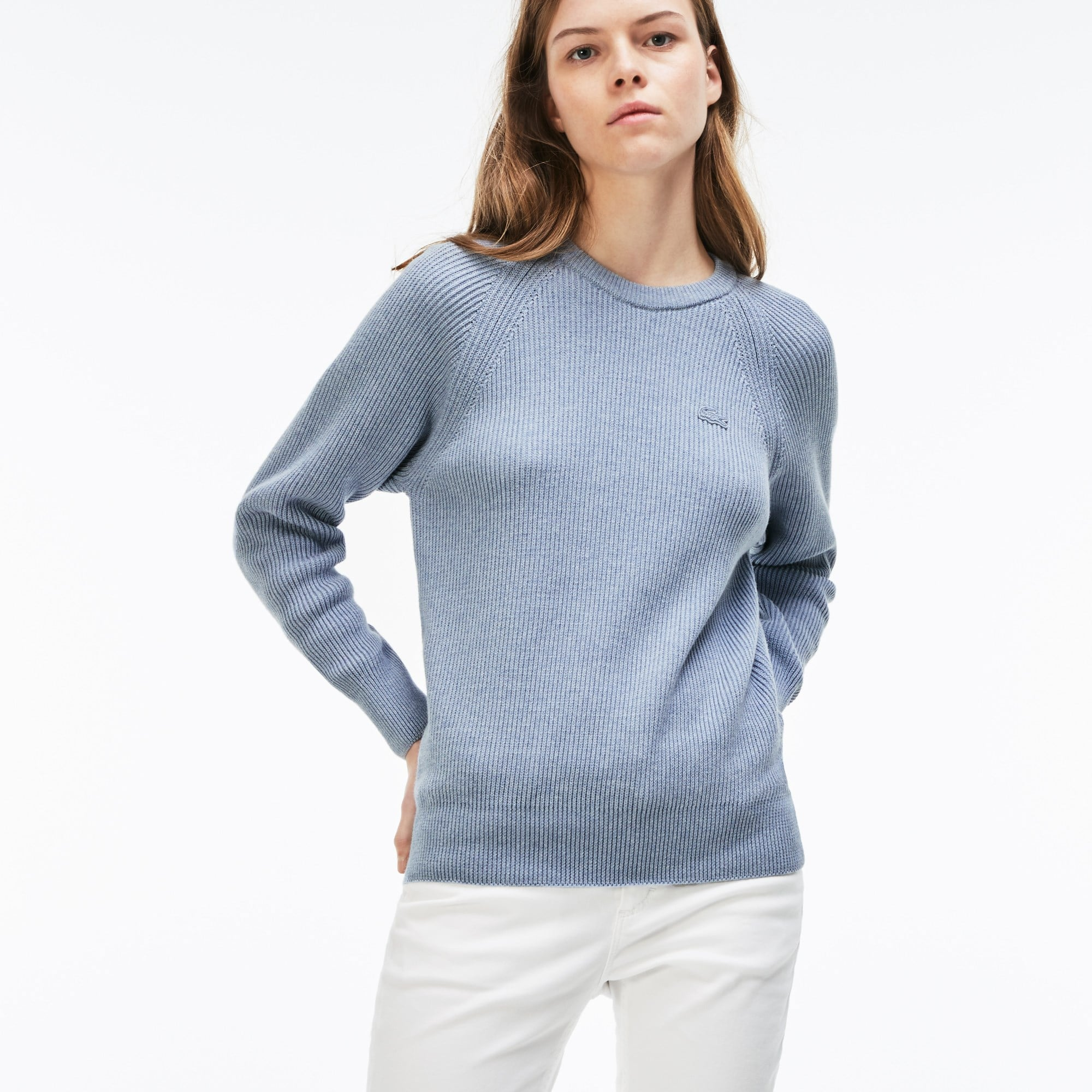 Women's Crew Neck Ribbed Cotton And Wool Sweater