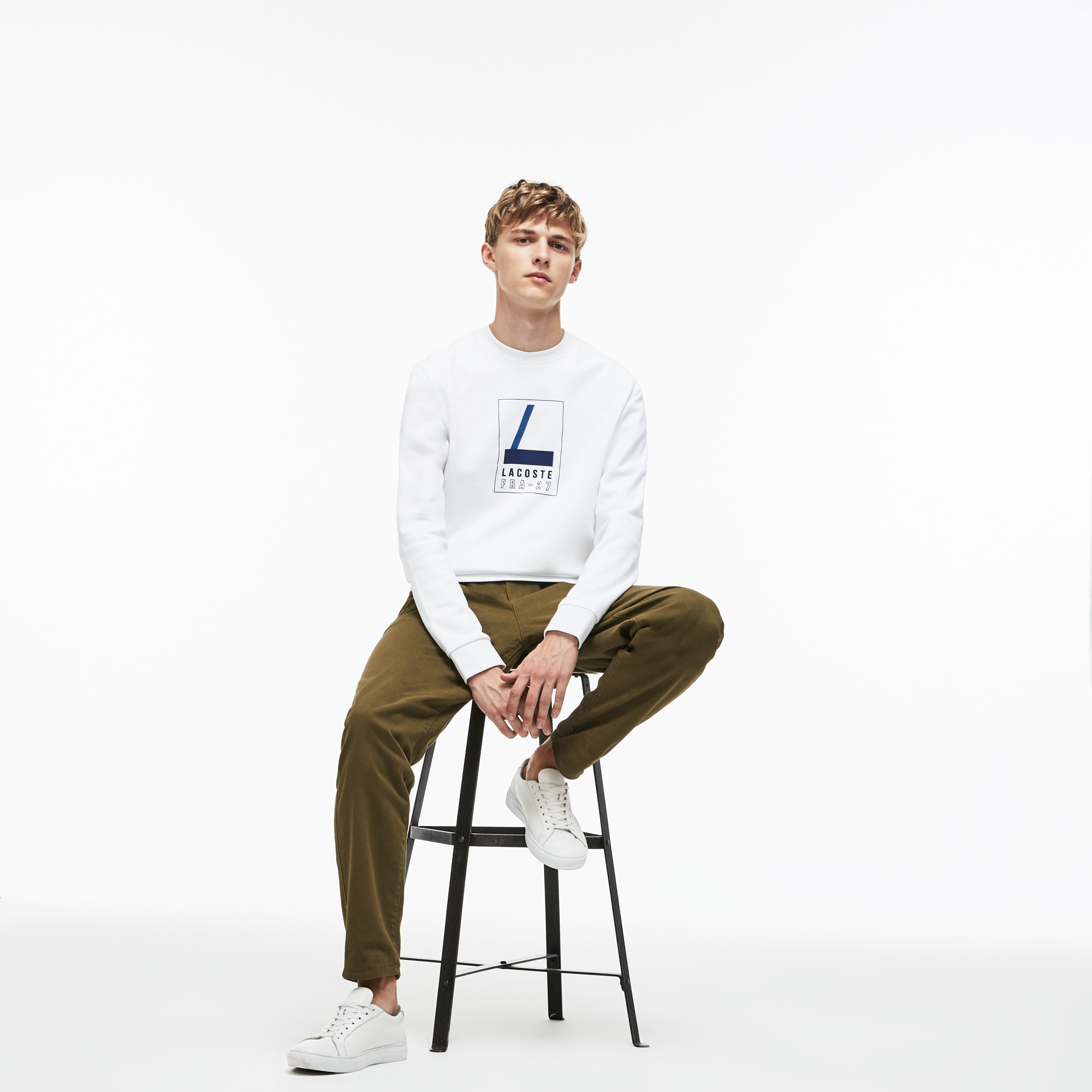 Men's Crew Neck Lacoste Print Fleece Sweatshirt
