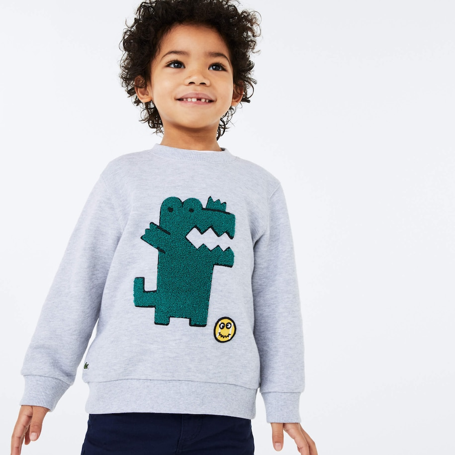 Boys' Embroidered Crocodile Cotton Fleece Sweatshirt