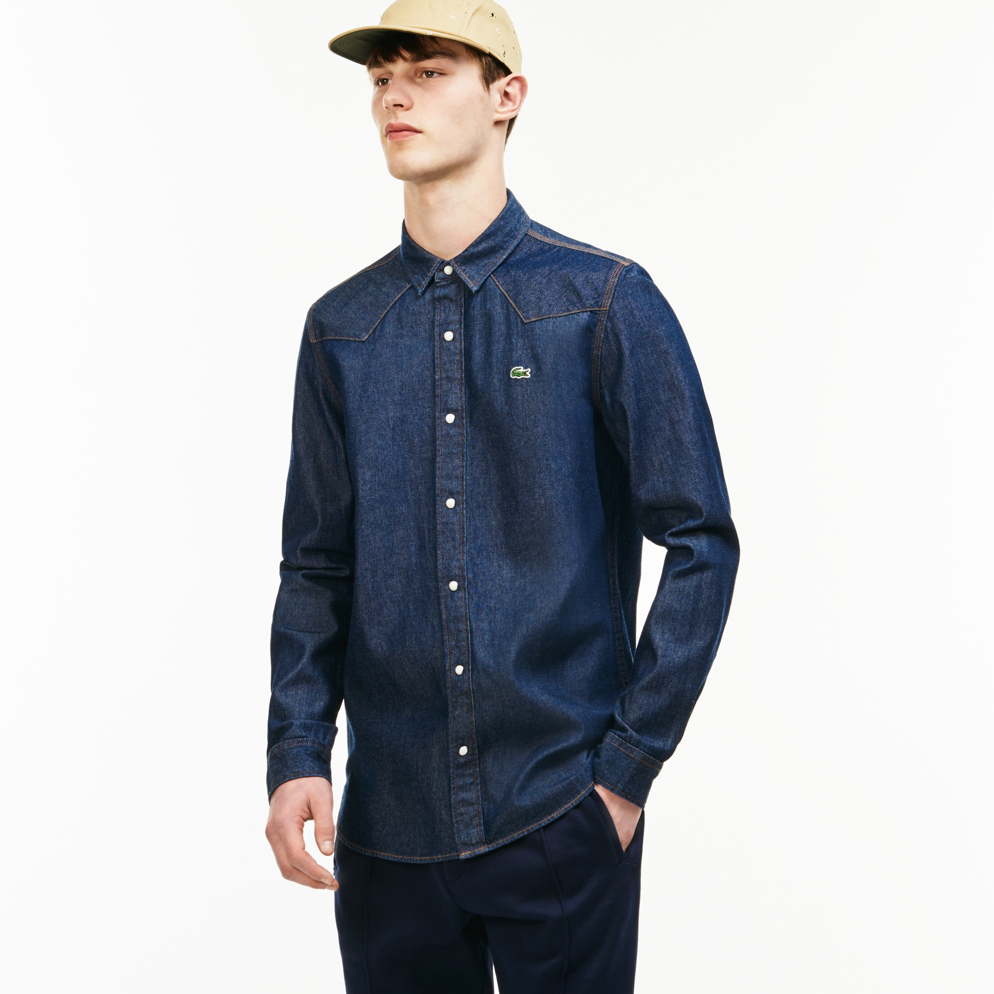Men's Lacoste LIVE Slim Fit Western Yoke Denim Shirt
