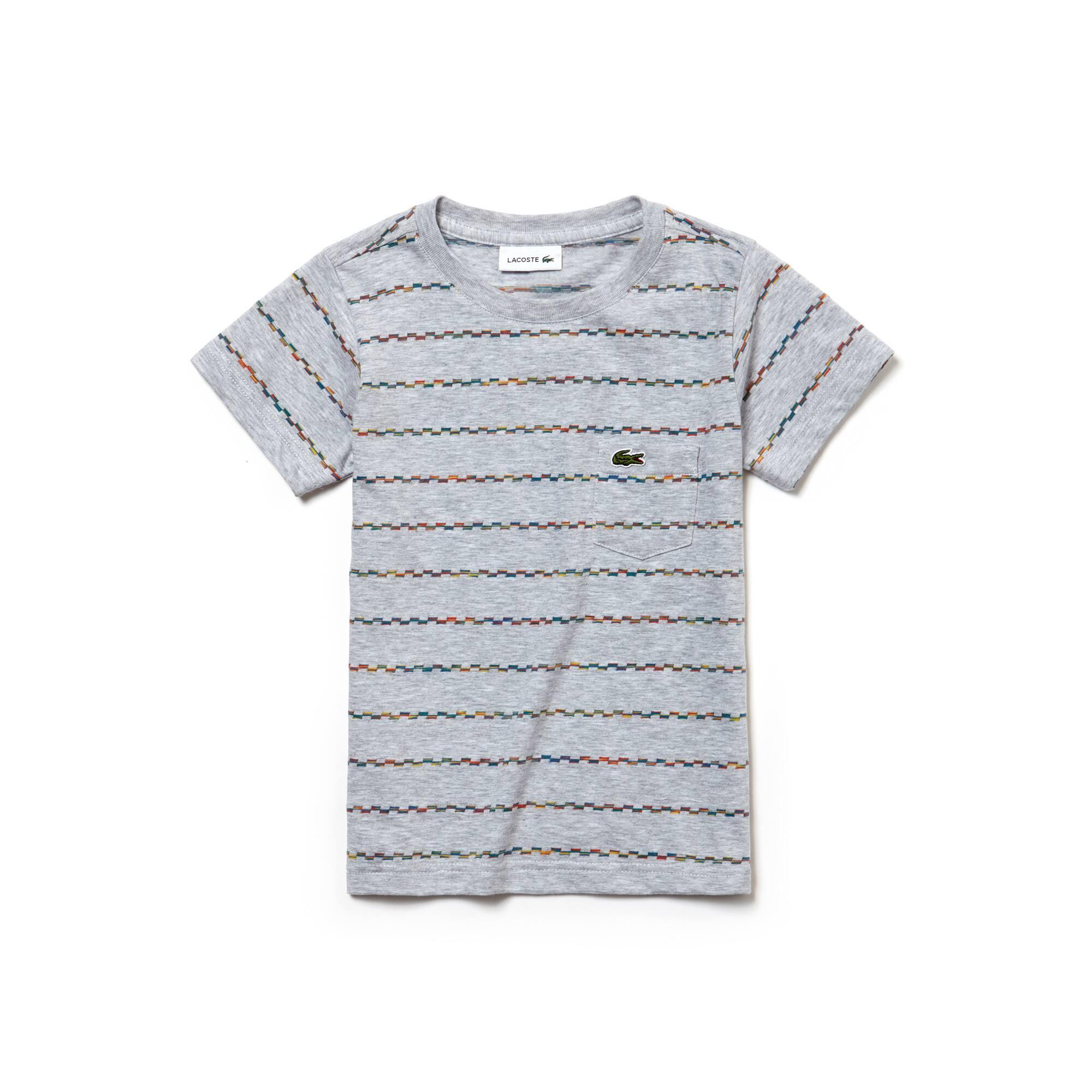 Boys' Crew Neck Multicolored Stripes Jacquard Jersey T-shirt