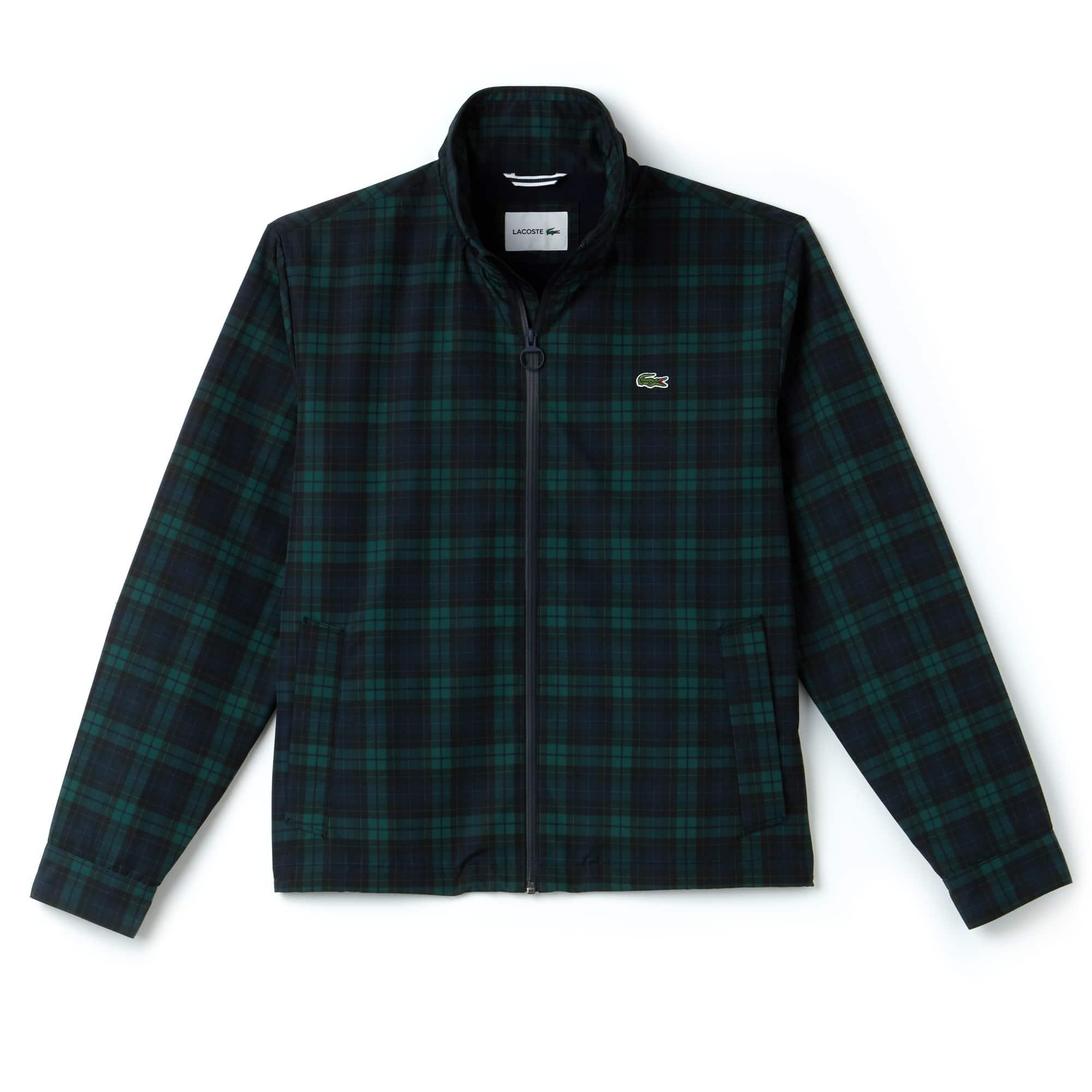 Men's Invisible Hood Short Check Taffeta Zip Jacket