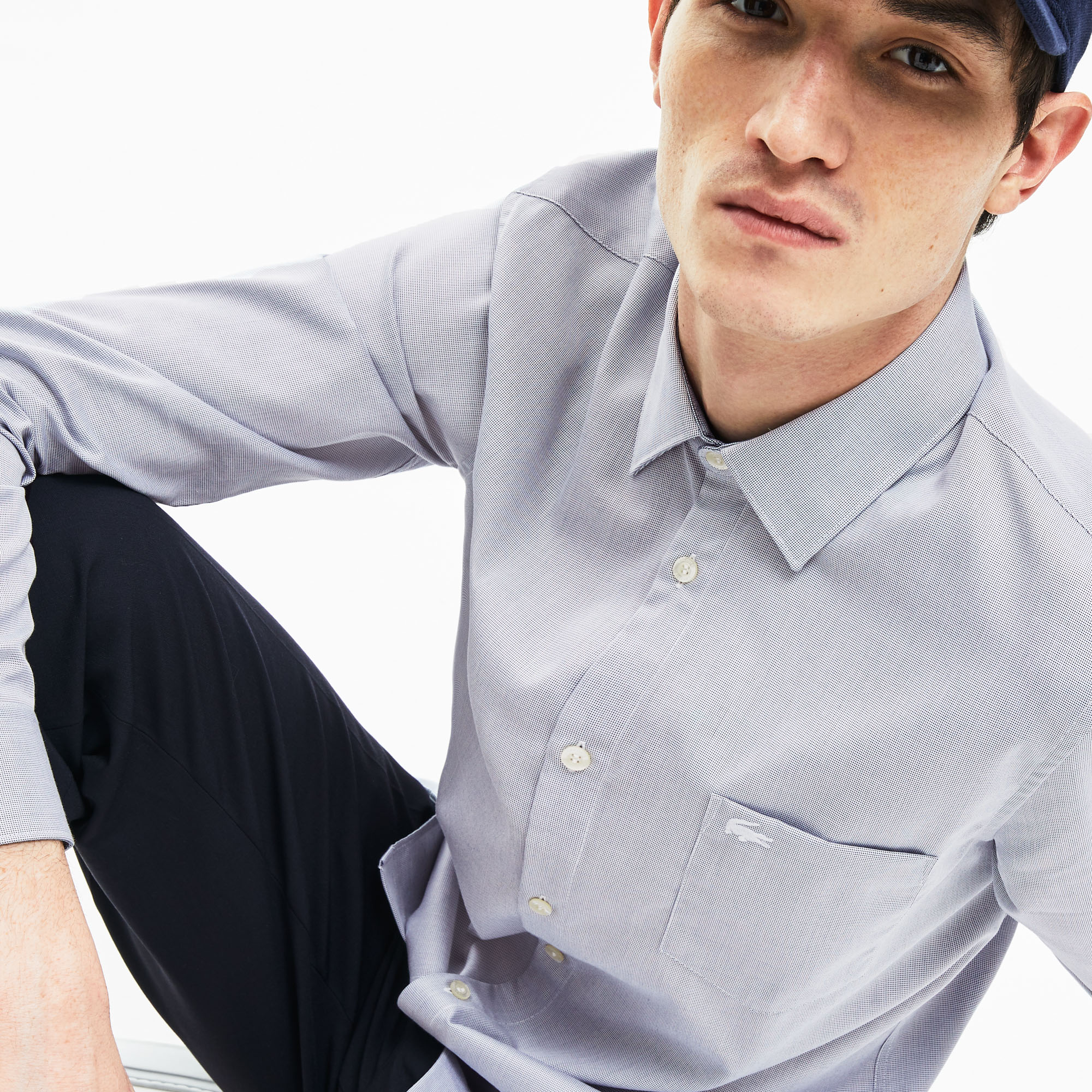 Men's Slim Fit Texturized Poplin Shirt