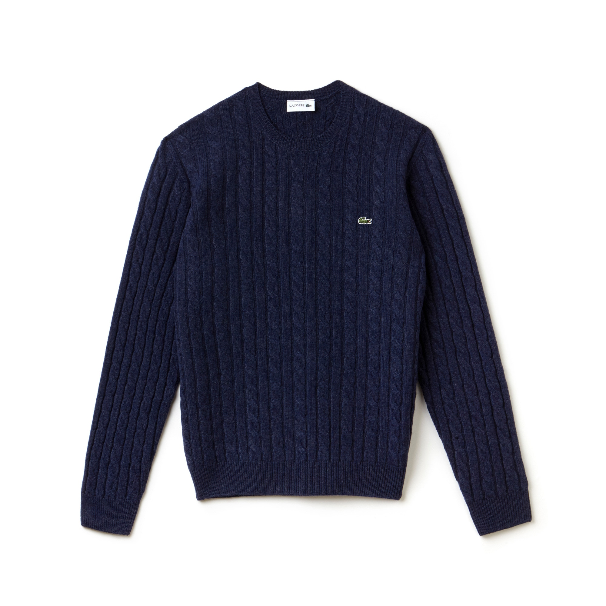 Men's Crew Neck Wool Cable Knit Effect Sweater