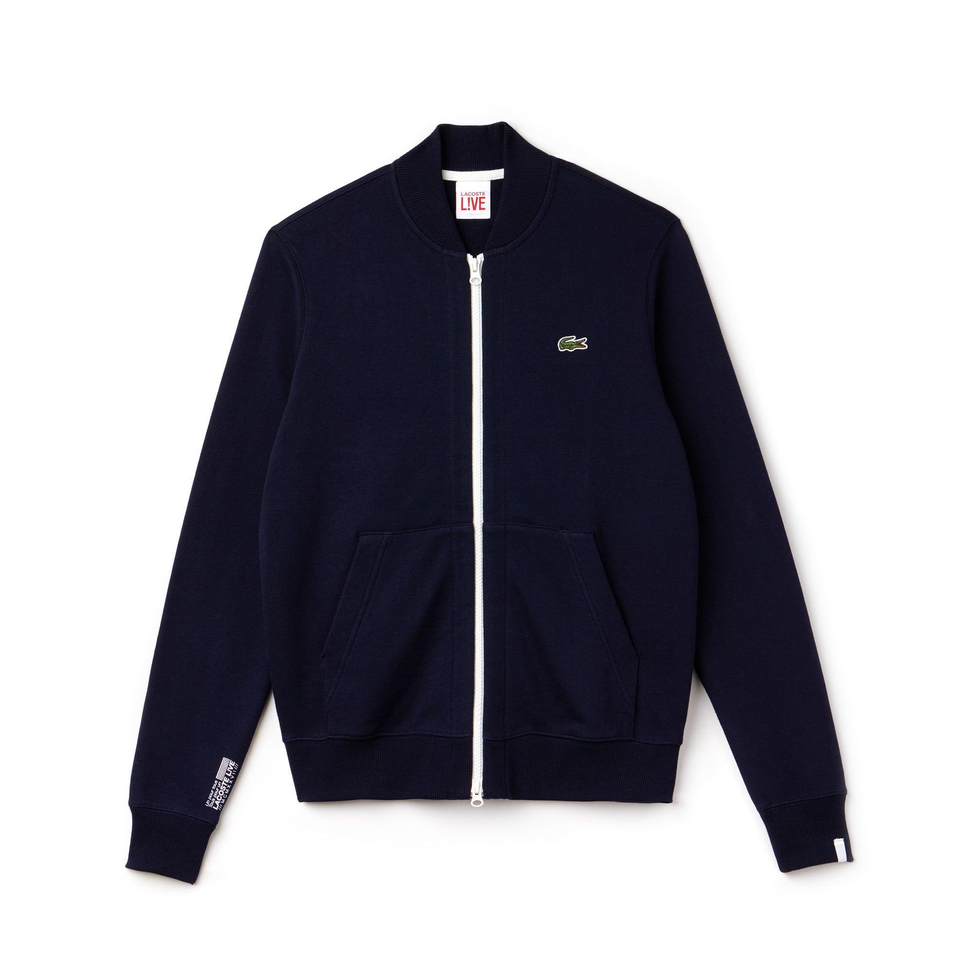 Unisex Lacoste LIVE Zip Bomber Neck Fleece Sweatshirt