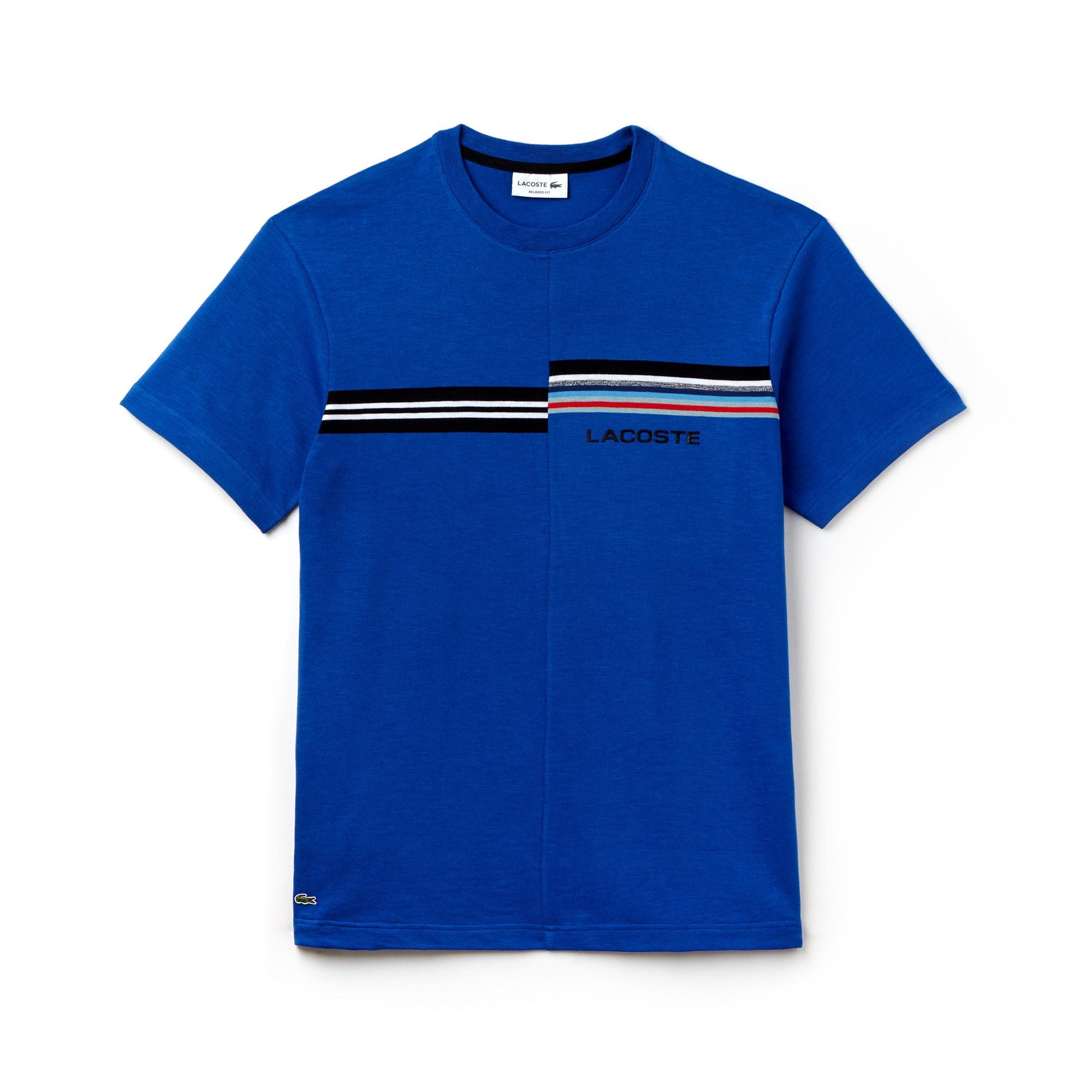Men's 3D Lacoste Branding and Print Jersey Crew Neck T-shirt