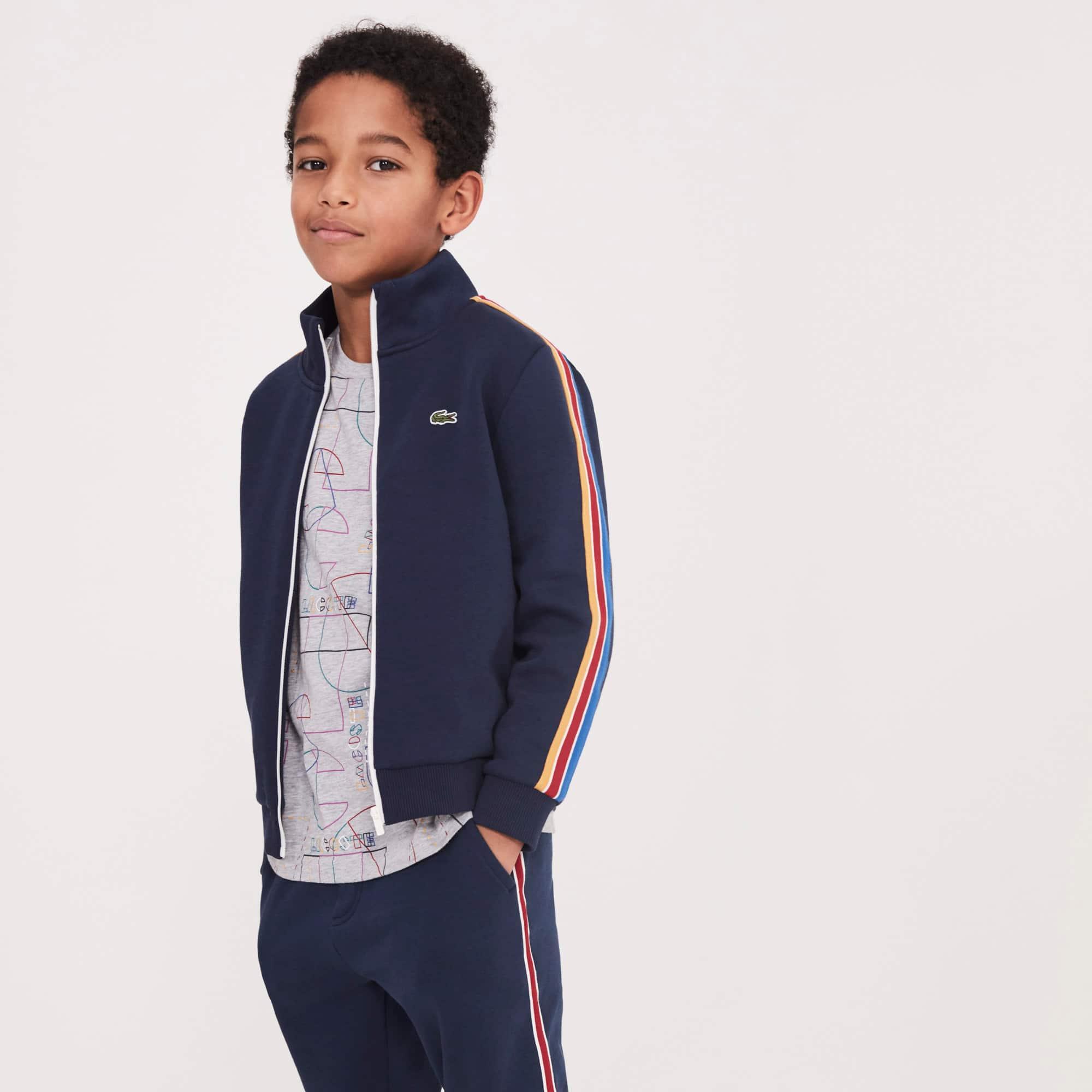 Boys' Stand-Up Collar Colored Bands Zippered Fleece Sweatshirt