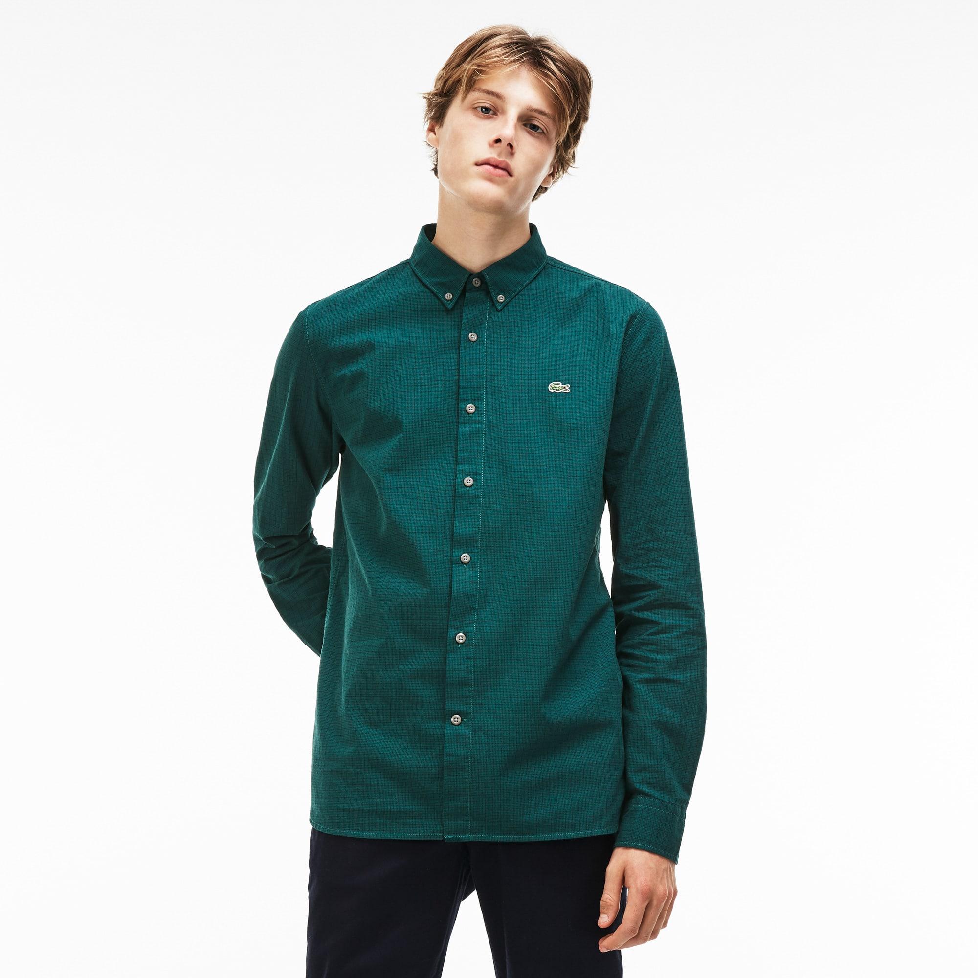 Men's Lacoste LIVE Slim Fit Check Salt-And-Pepper Cotton Shirt