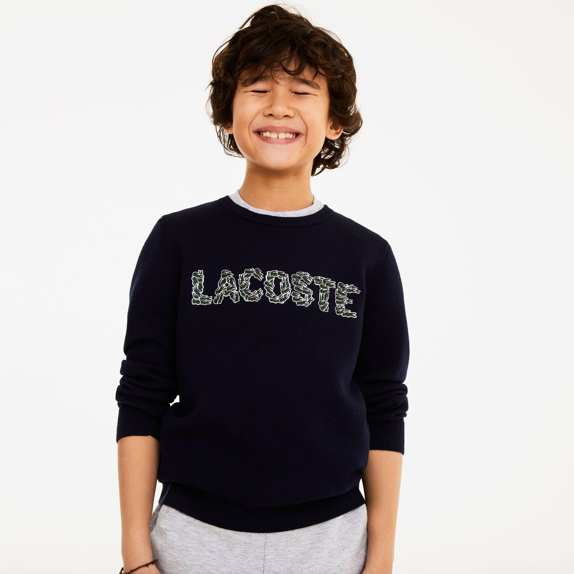 Boys' Embroidered Crocodiles Lacoste Lettering Wool And Cotton Sweater