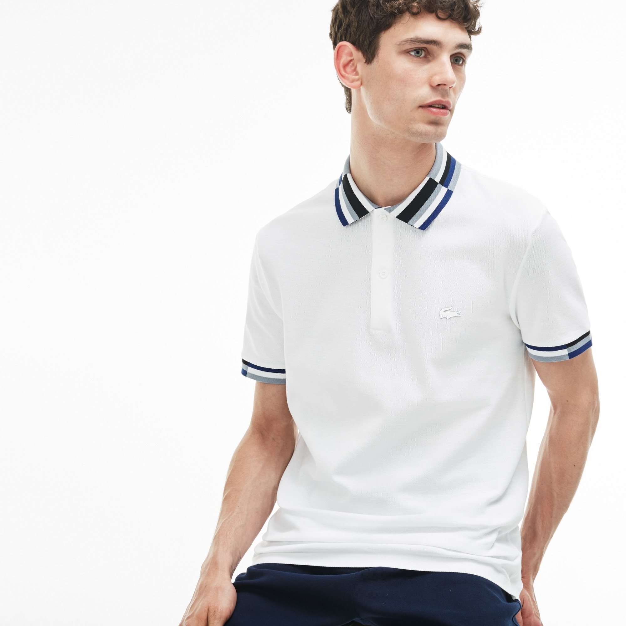 Men's Lacoste Slim Fit Colorblock Striped Knop Piqué Polo